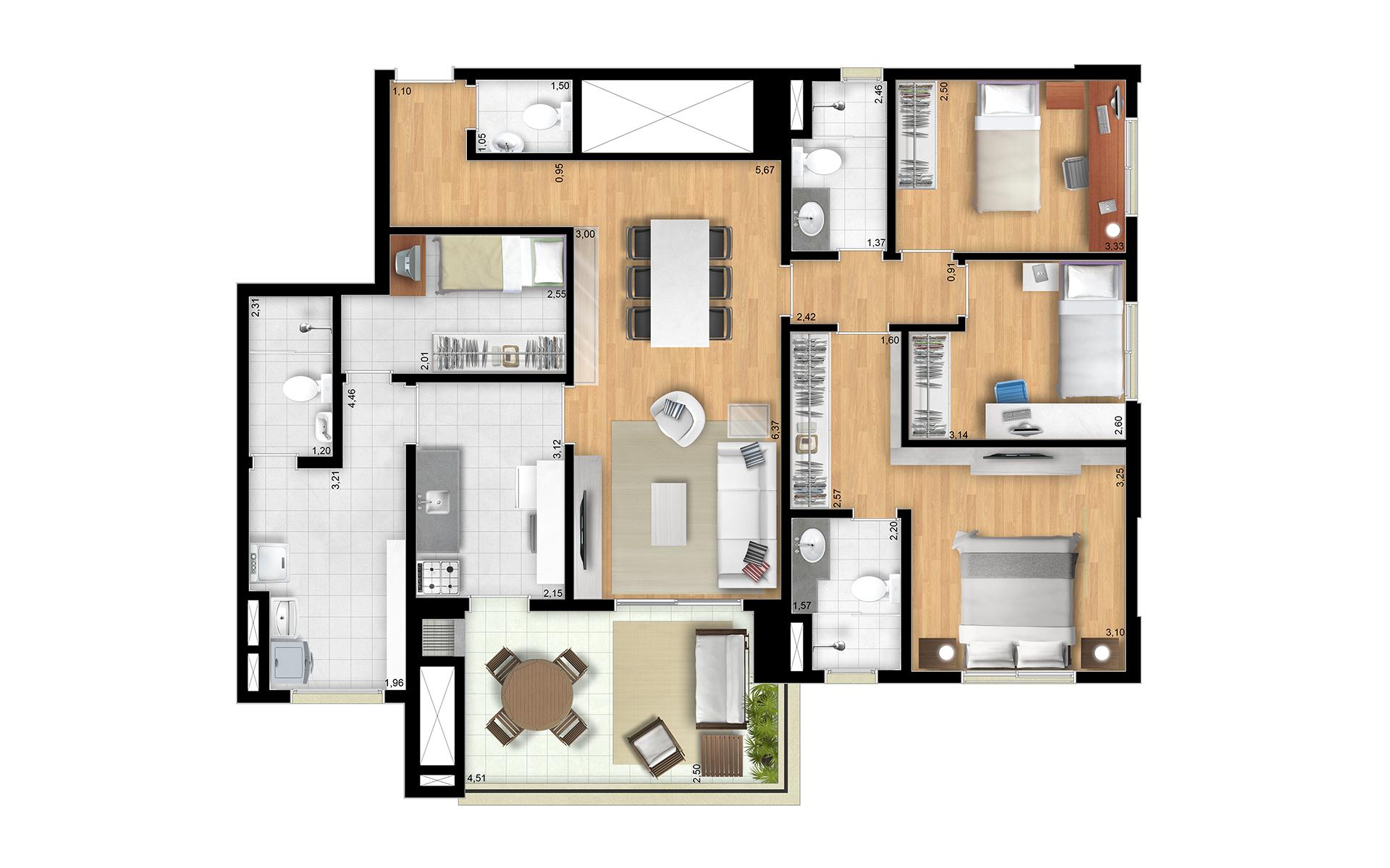 115m² 3 dorms - Final 2 Torres Araucária e Dália