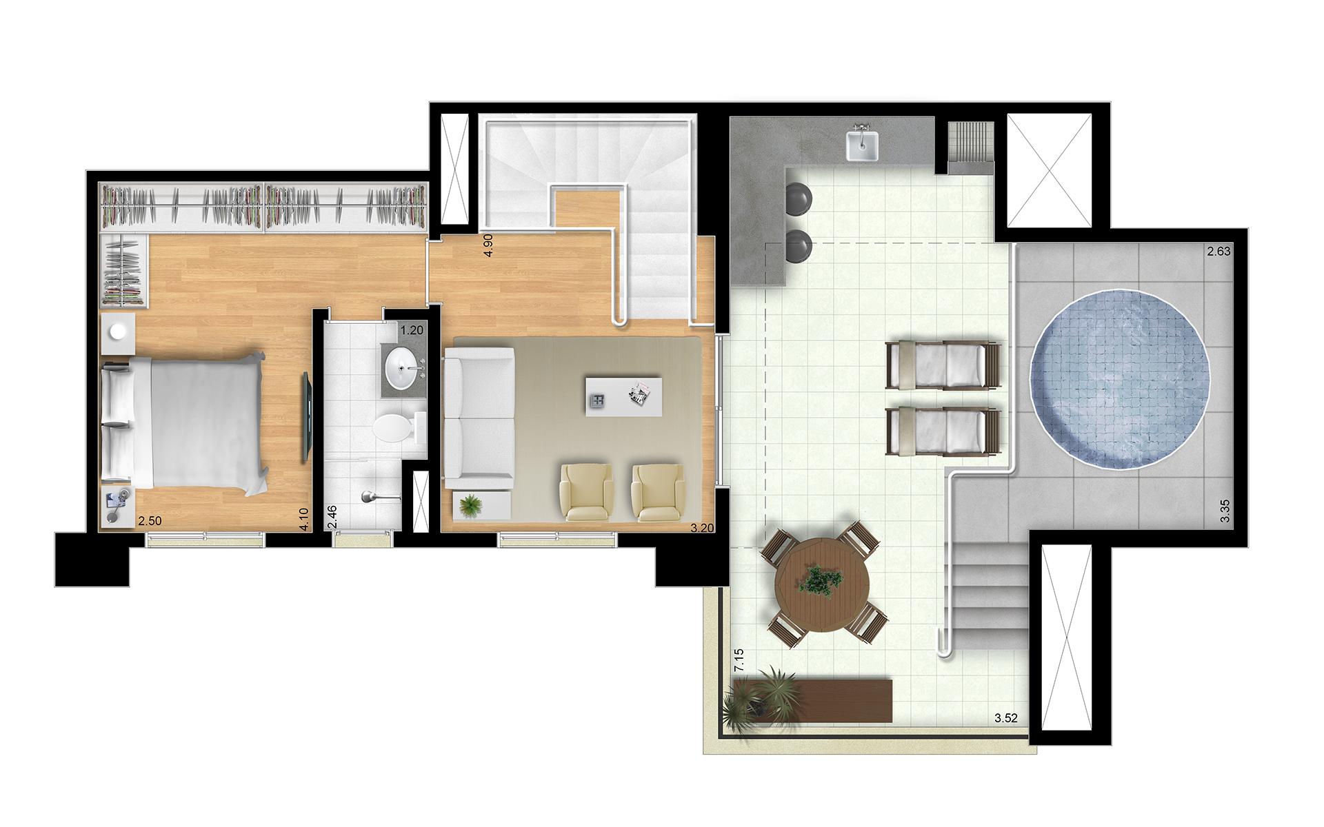 151m² - Duplex Superior - Final 6 Torres Araucária e Dália