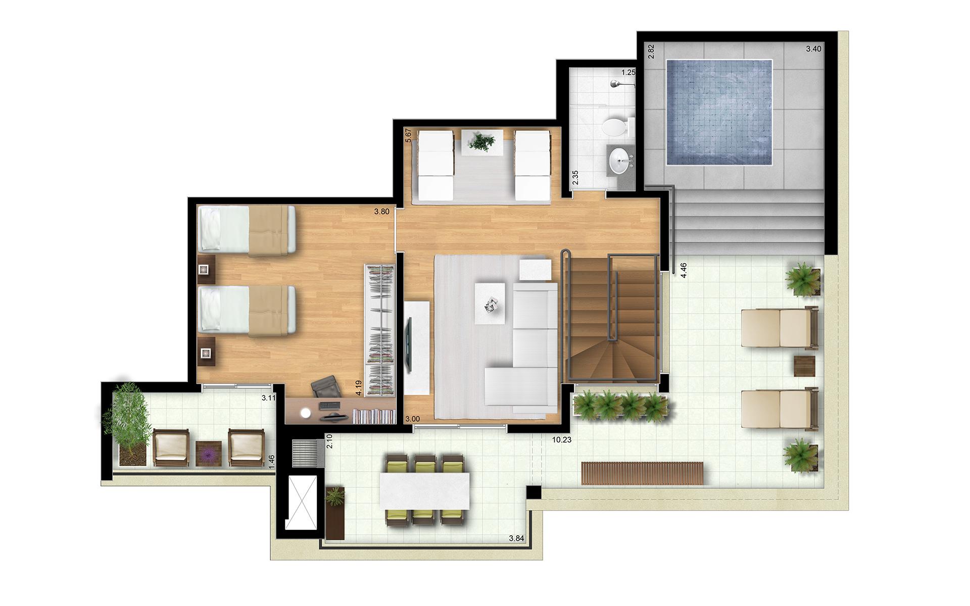 196m² - Duplex Superior - Final 8 Torres Araucária e Dália