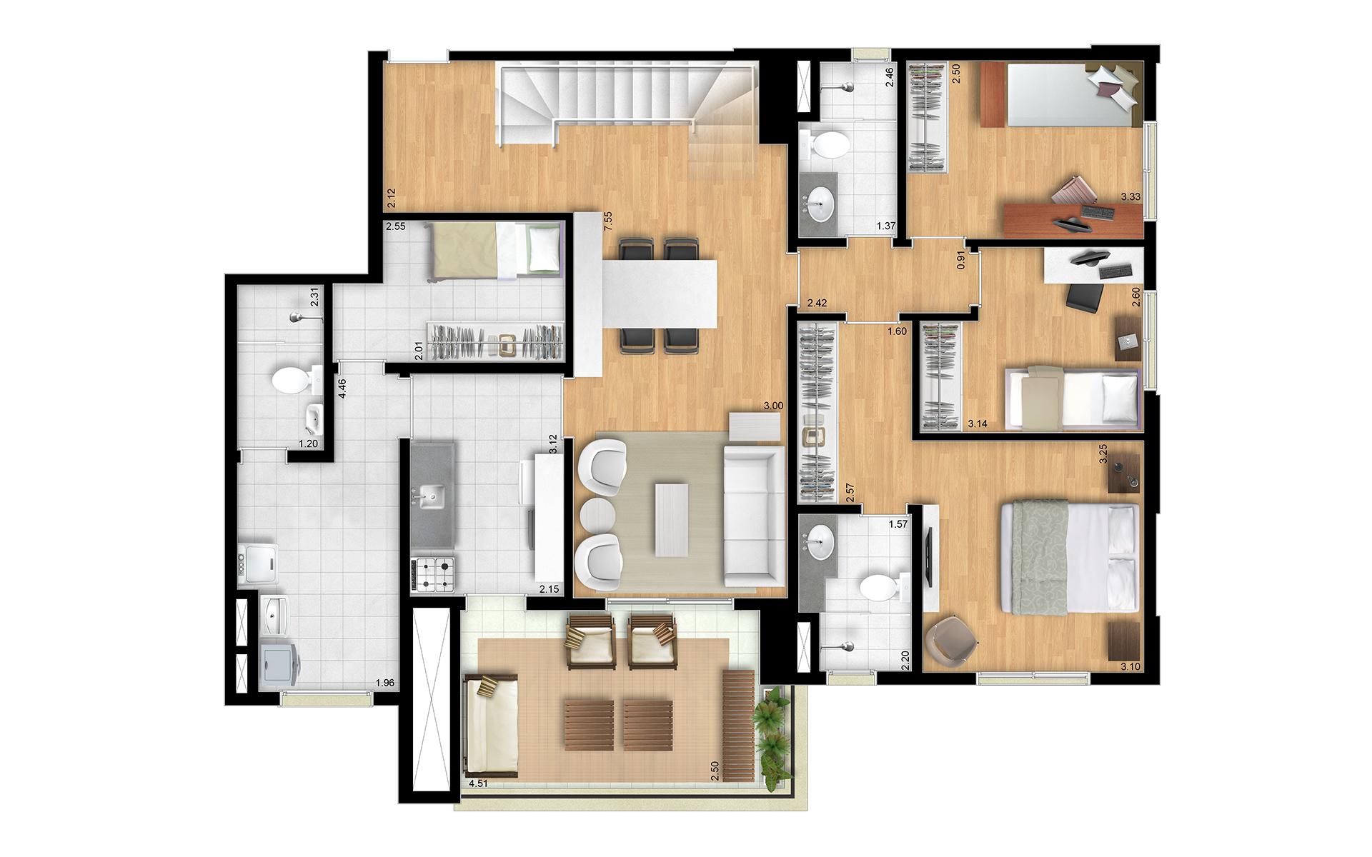 239m² - Duplex Inferior - Final 2 Torres Araucária e Dália