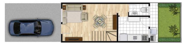 2 dorms 58,04m² - piso inferior