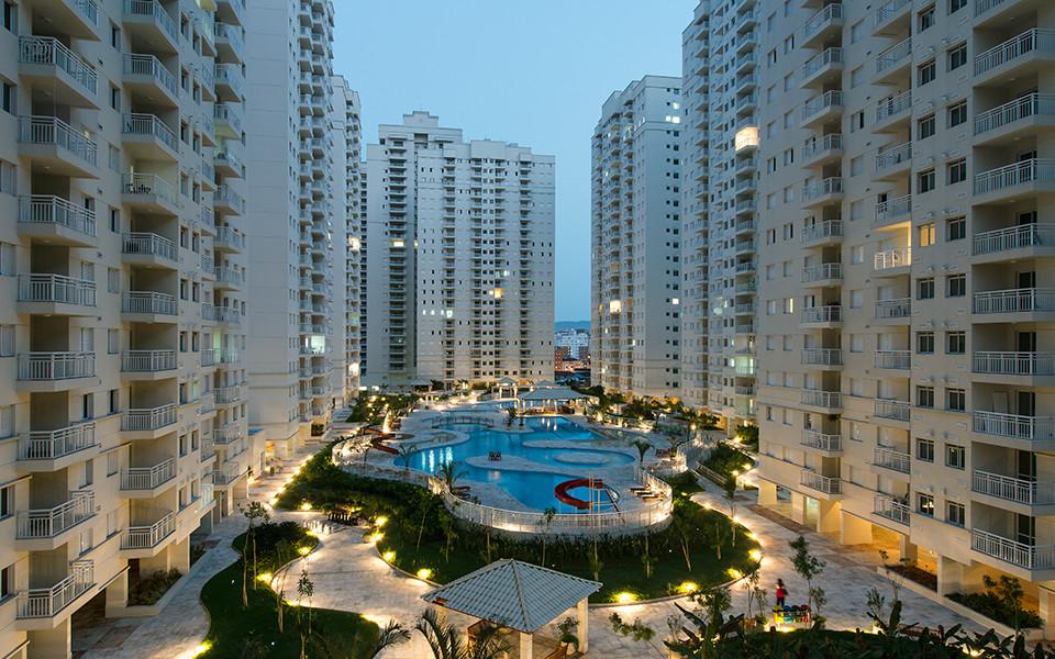 Fachadas e parque aquático
