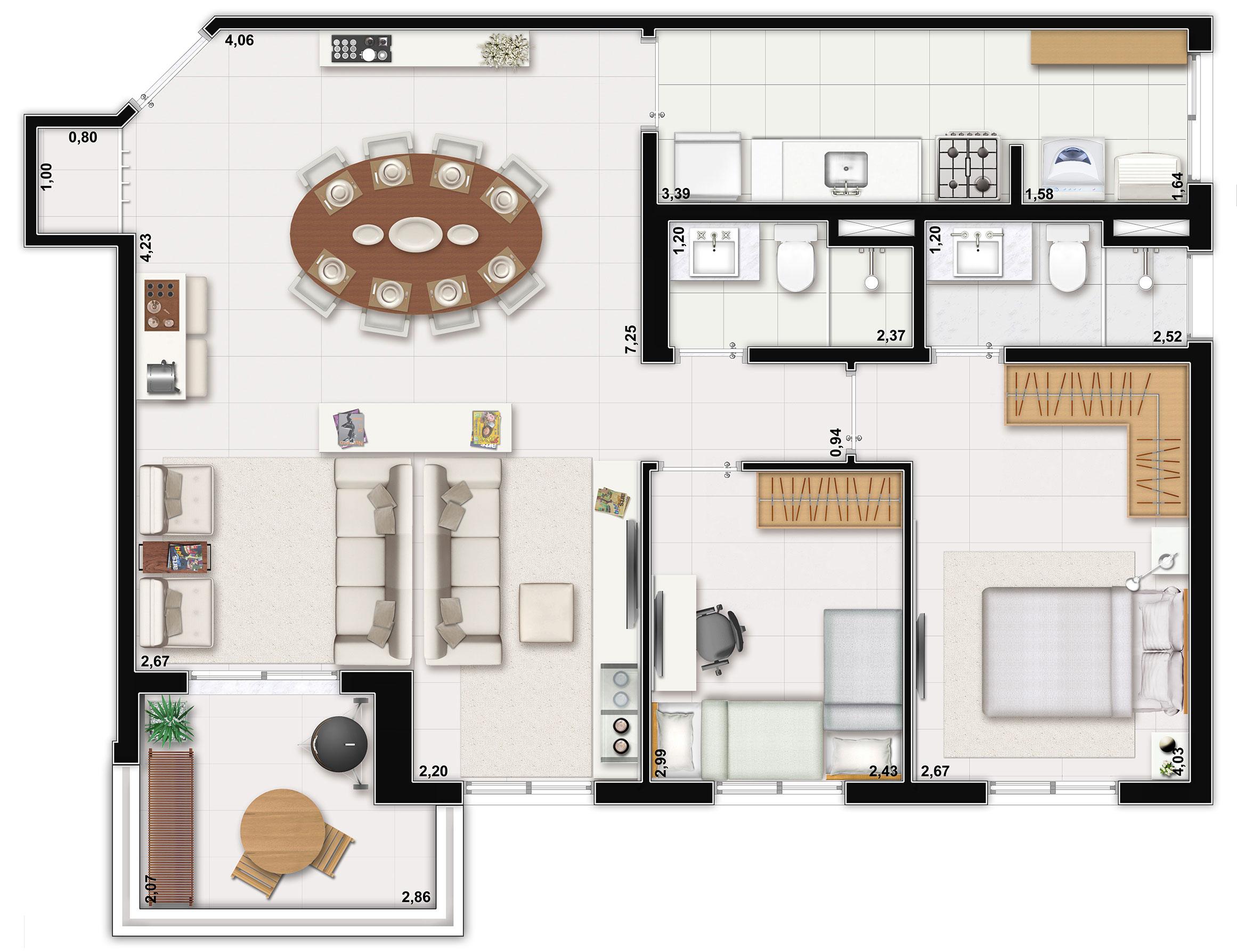 84m² - Living ampliado
