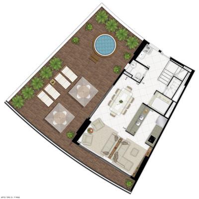 Ilustração artística de planta - apto tipo D 1º piso