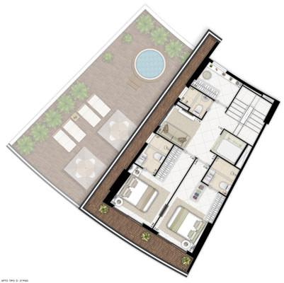 Ilustração artística de planta - apto tipo D 2º piso