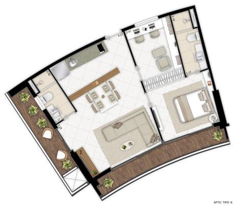 Ilustração artística de planta - apto tipo K - 2º ao 21º andar