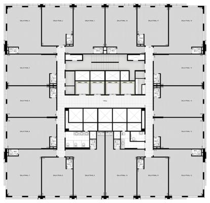 Salas do 3º ao 10º andar