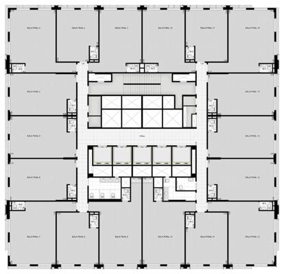 Salas do 12º ao 20º andar