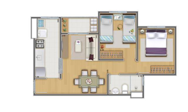 45,12 m² 2 dorms