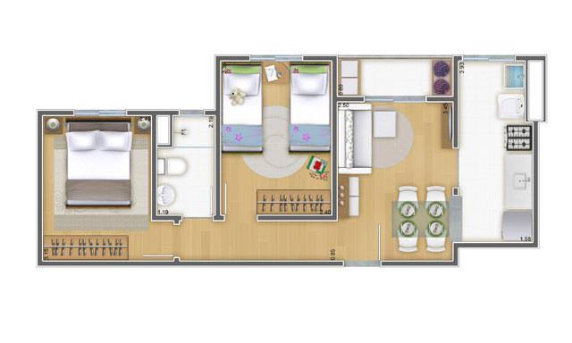 46,87 m² - 2 dorms
