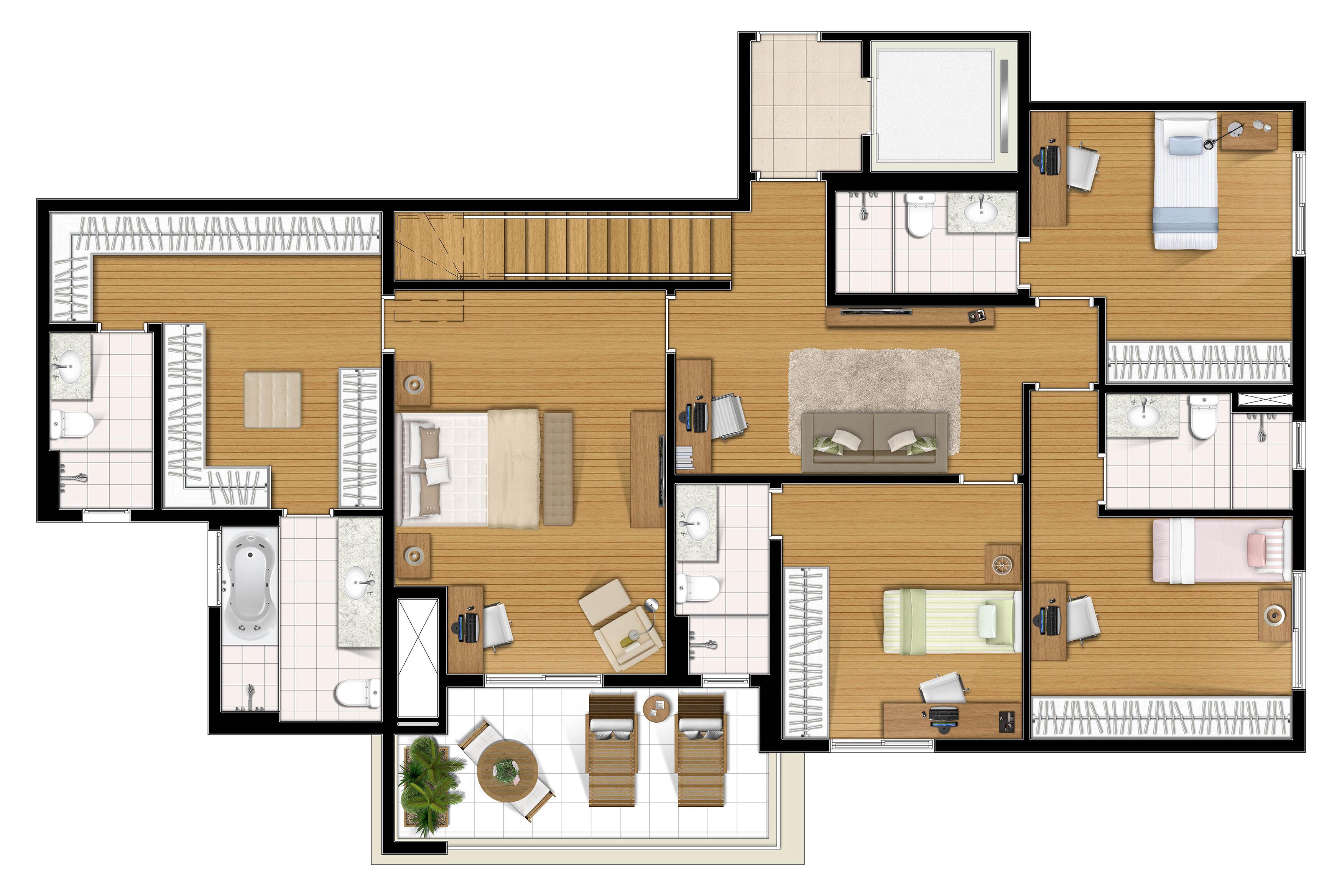 295,97m² cobertura piso inferior