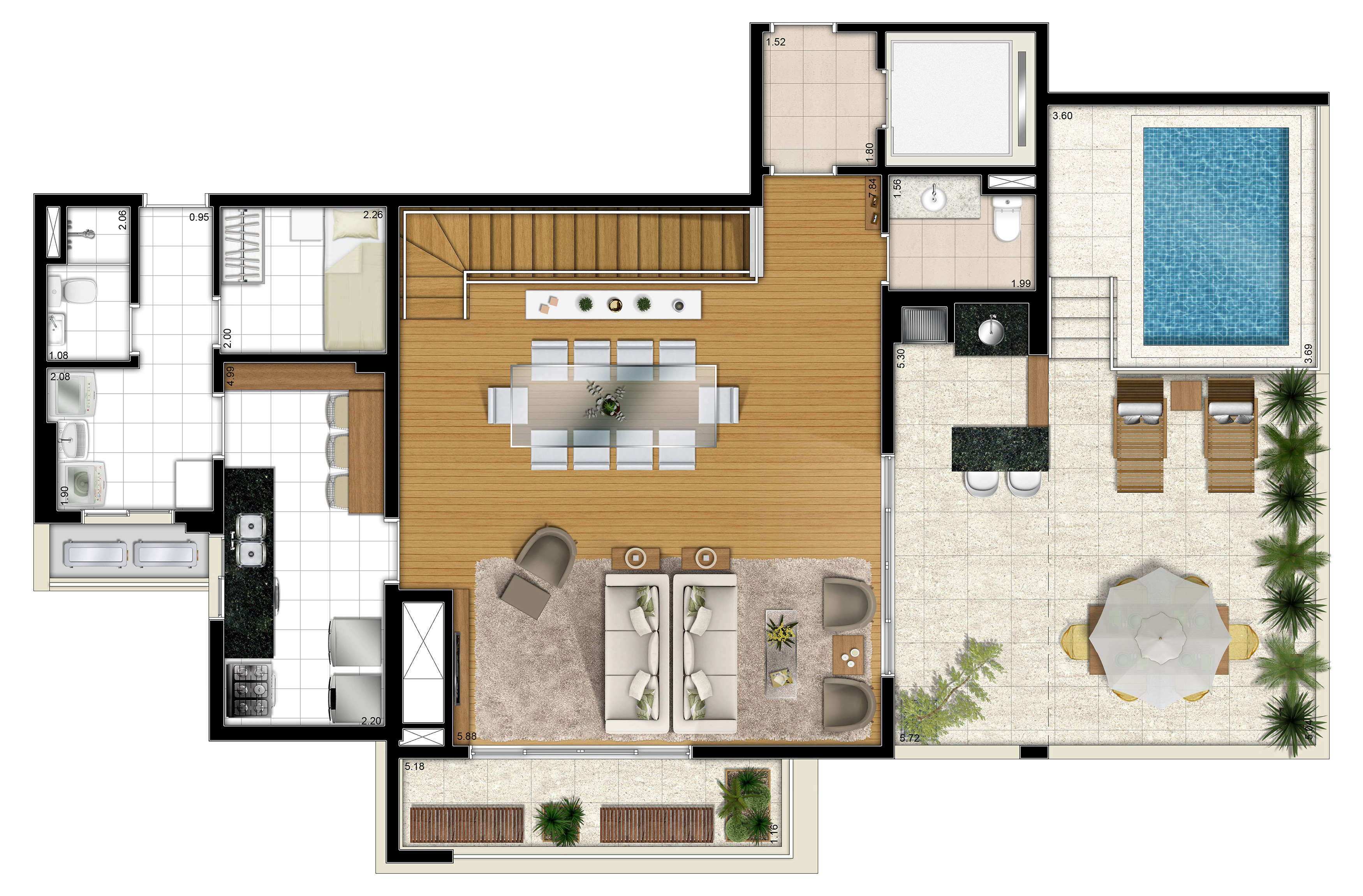 295,97m² cobertura piso superior