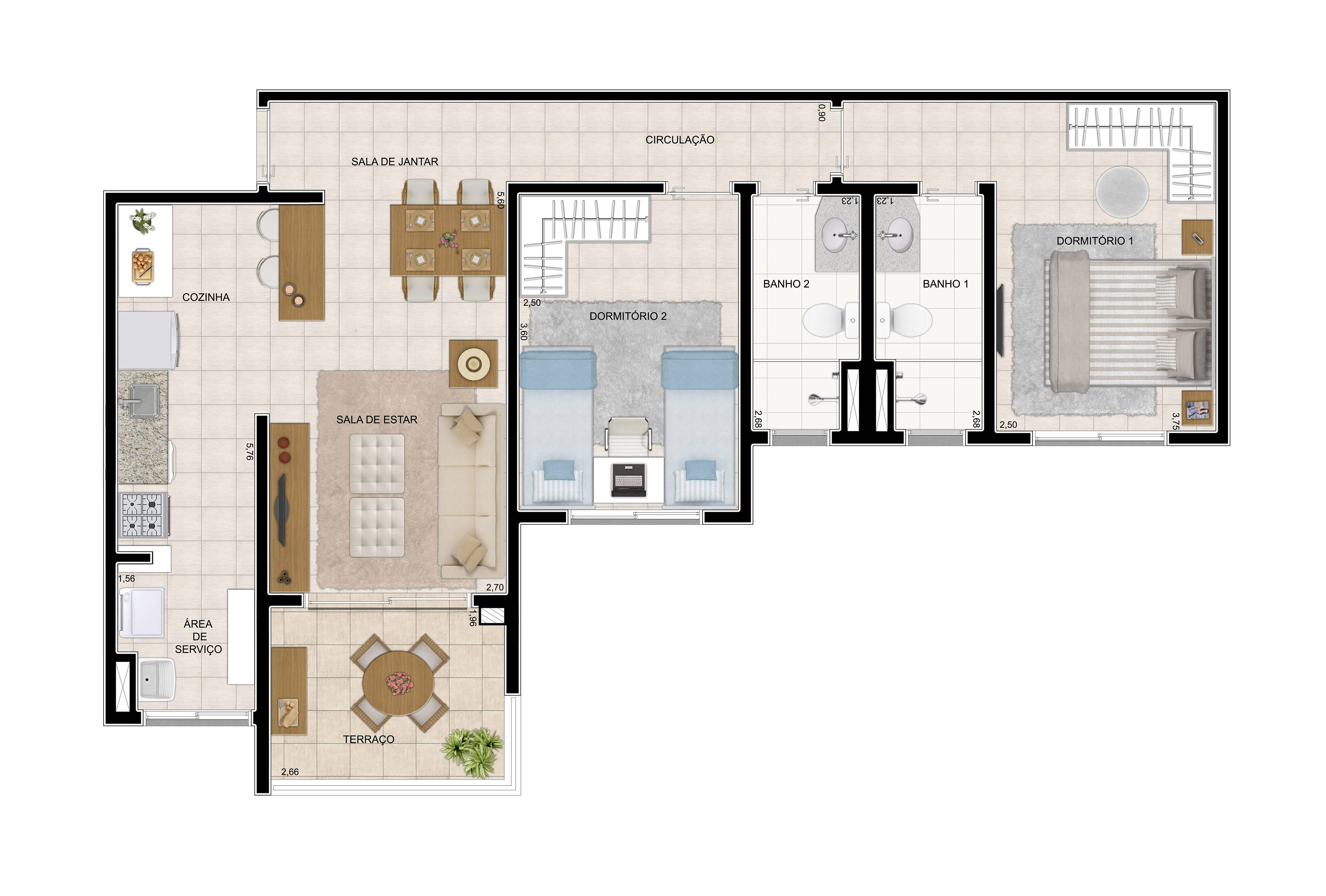 69 m² - 2 dorms