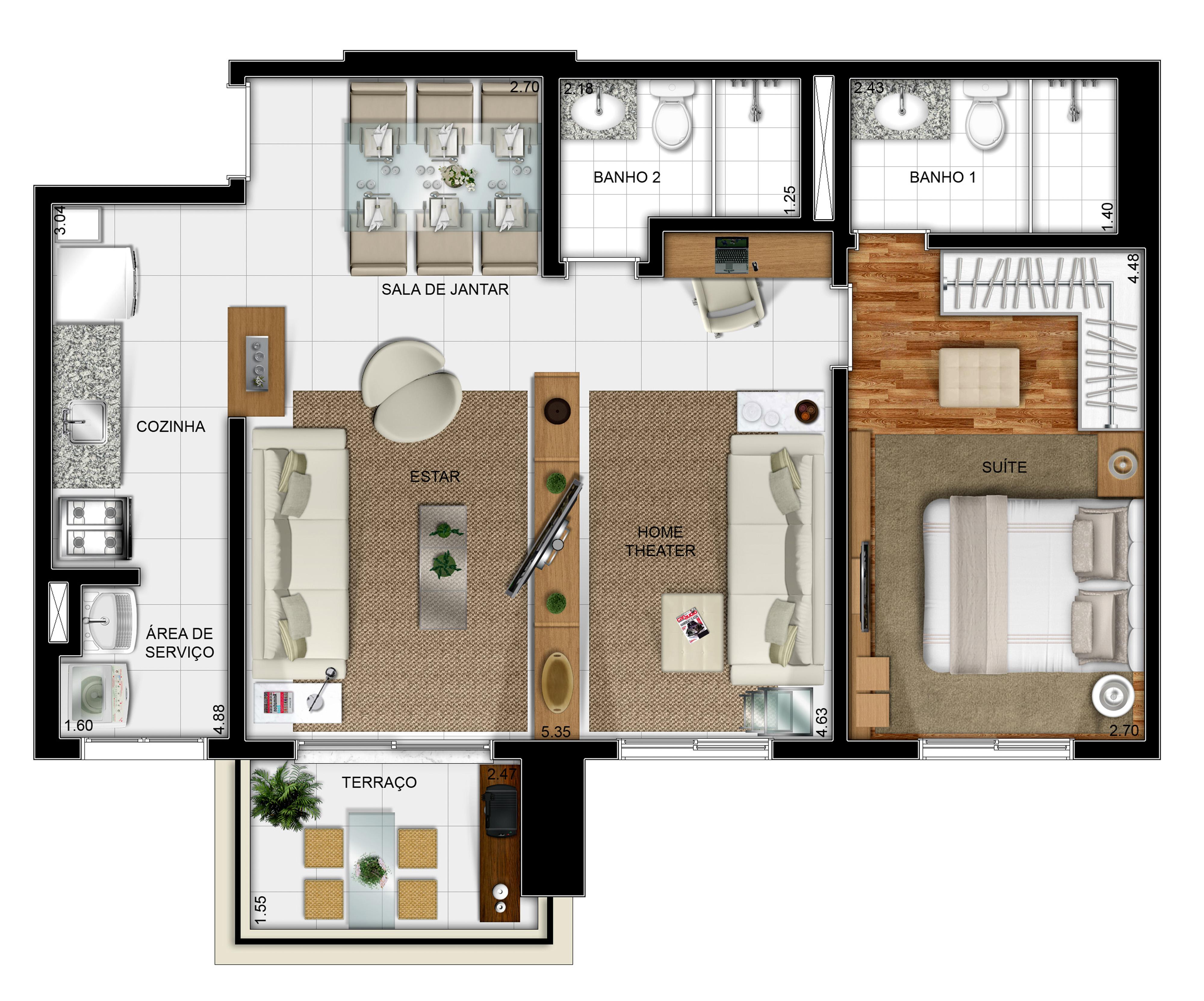 69 m² - 1 suíte - Opção com living ampliado