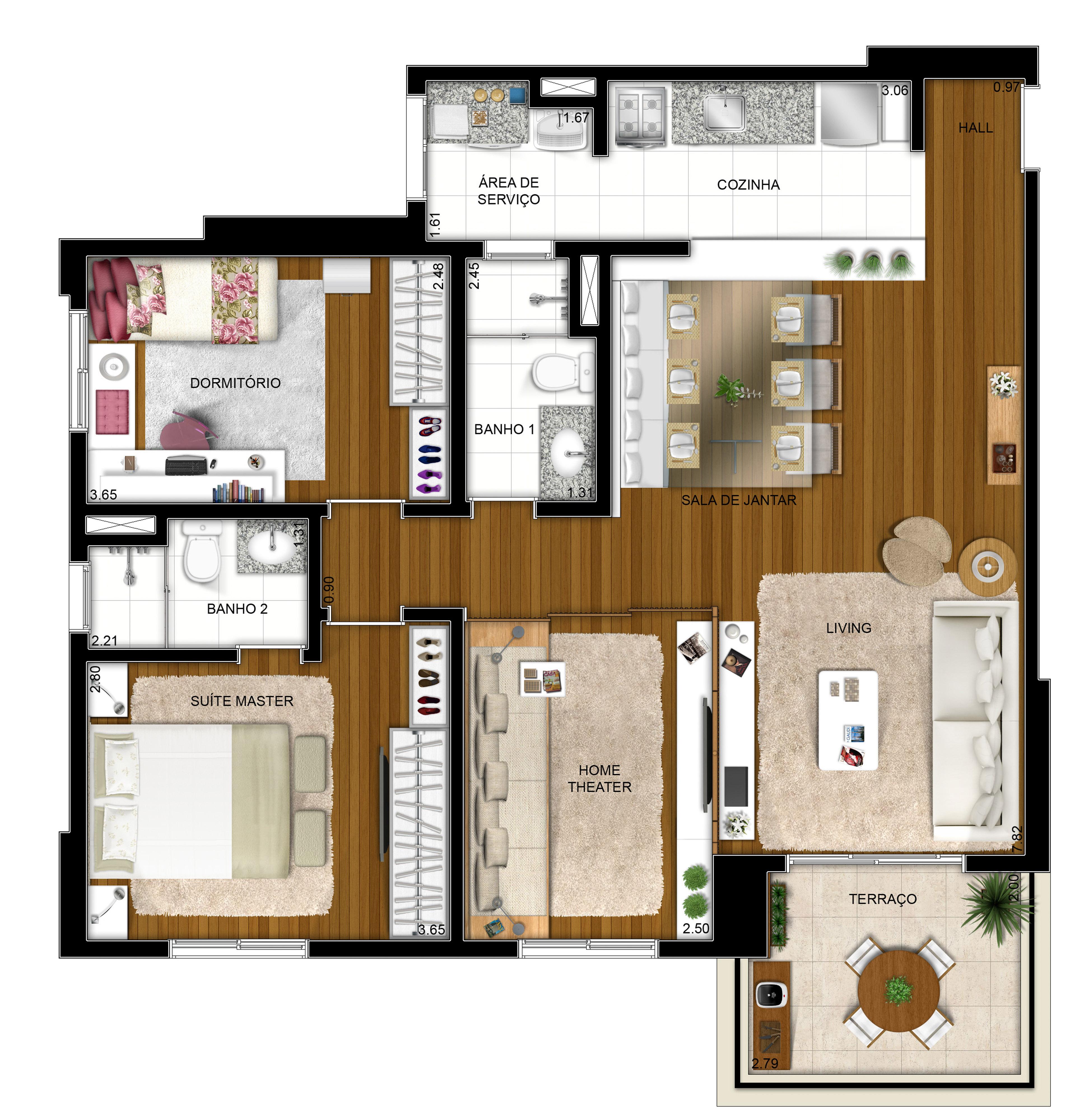 87 m² - 2 dorms - Opção com living ampliado