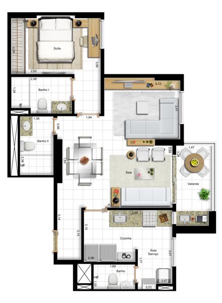 67,73 m² 1 suíte - final 10 - opção com sala ampliada