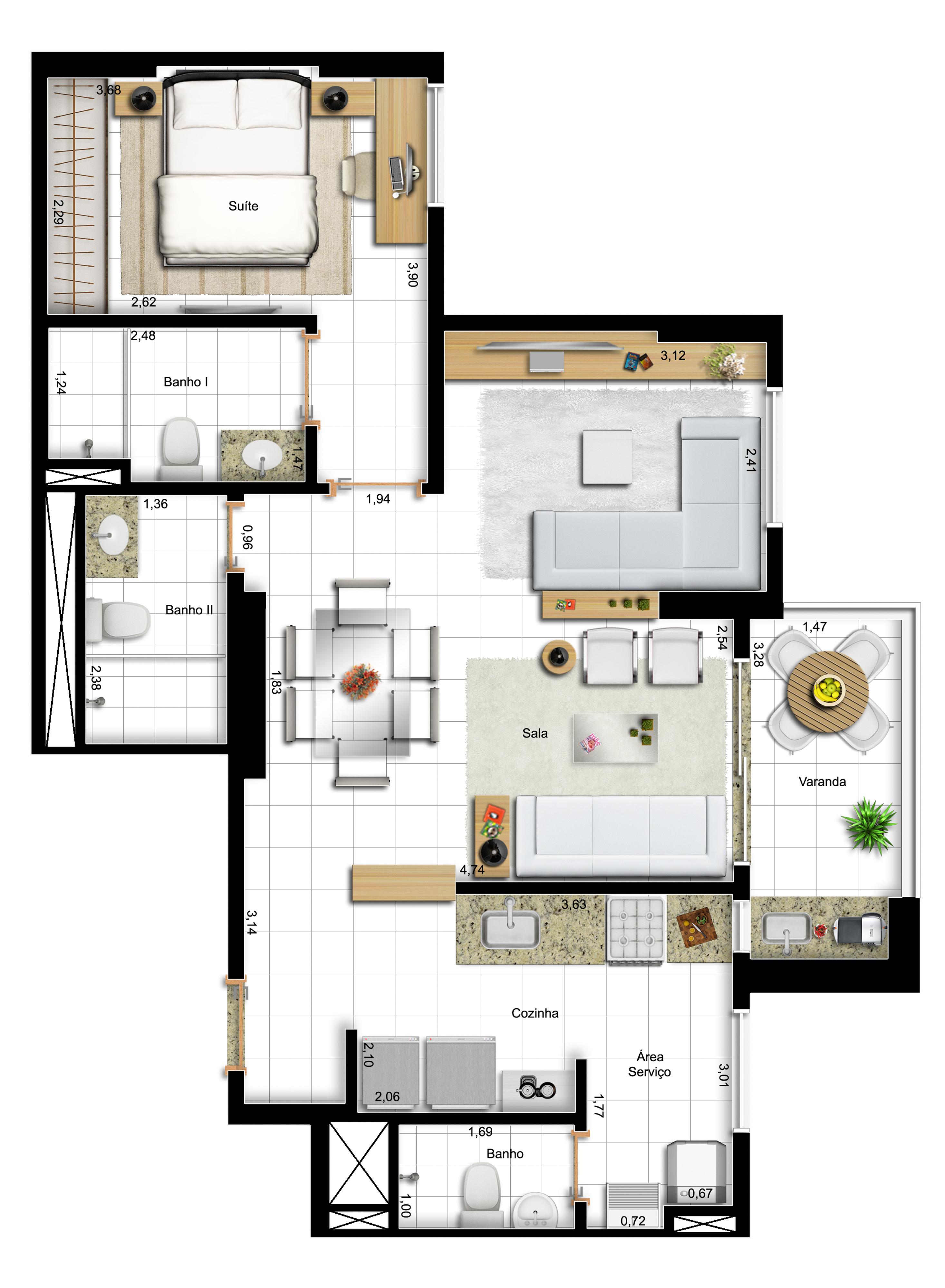 67,73m² 1 suíte -final 10- opção com sala ampliada e cozinha americana
