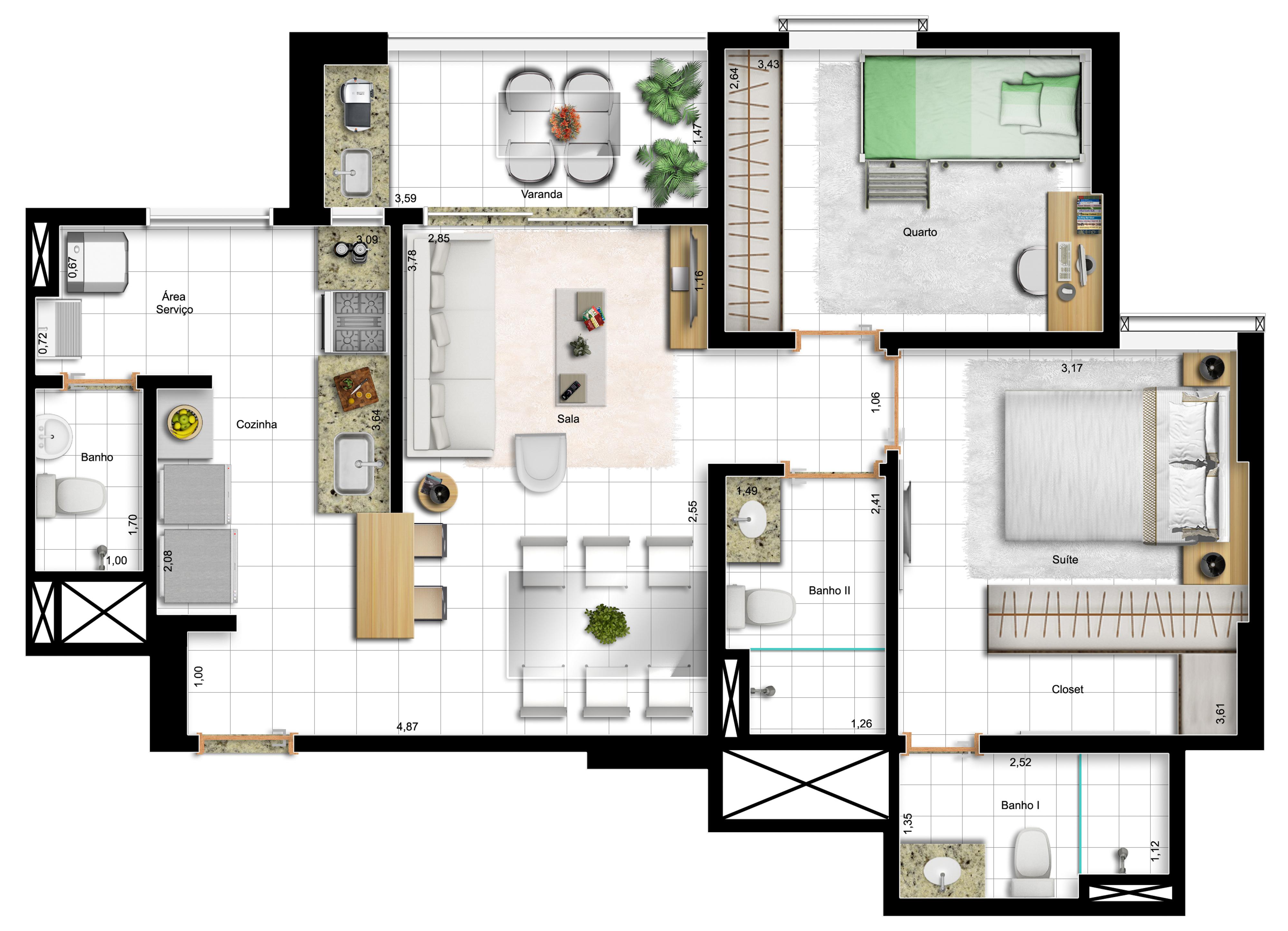 73,10m² 2 dorms - final 3 - opção com cozinha americana