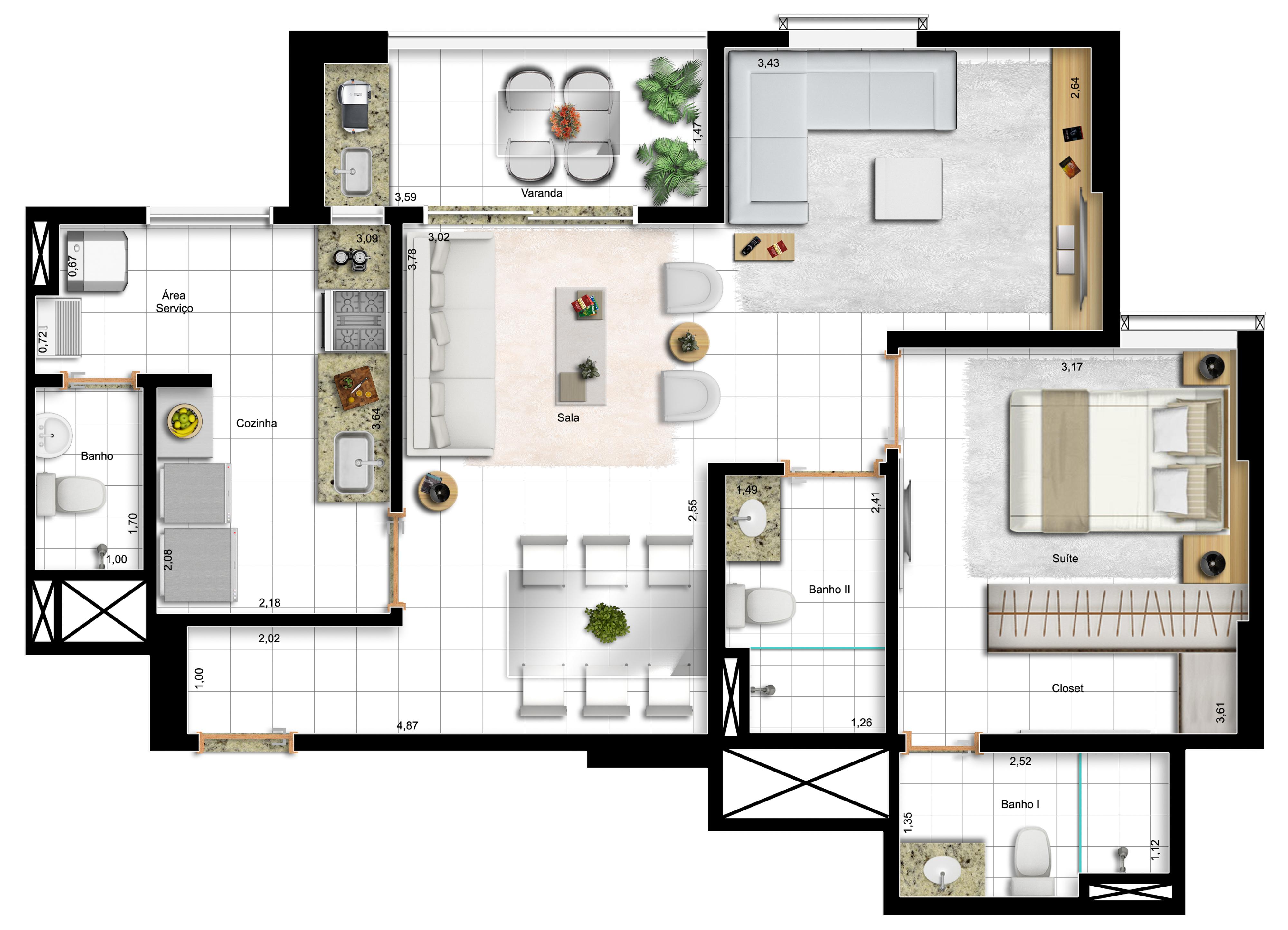 73,10m² 1 suíte - final 3 - opção com sala ampliada