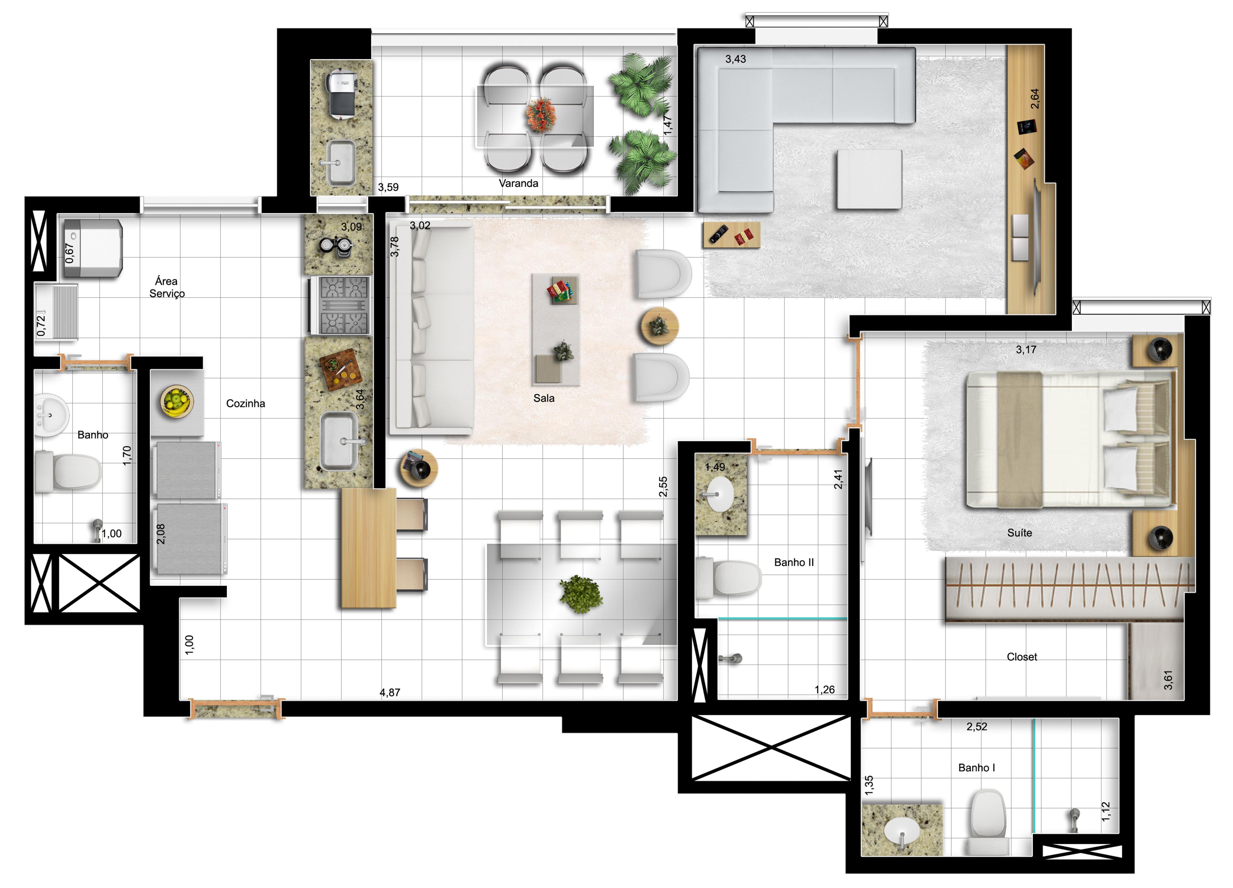 73,10m² 1 suíte - final 3 -opção com sala ampliada e cozinha americana