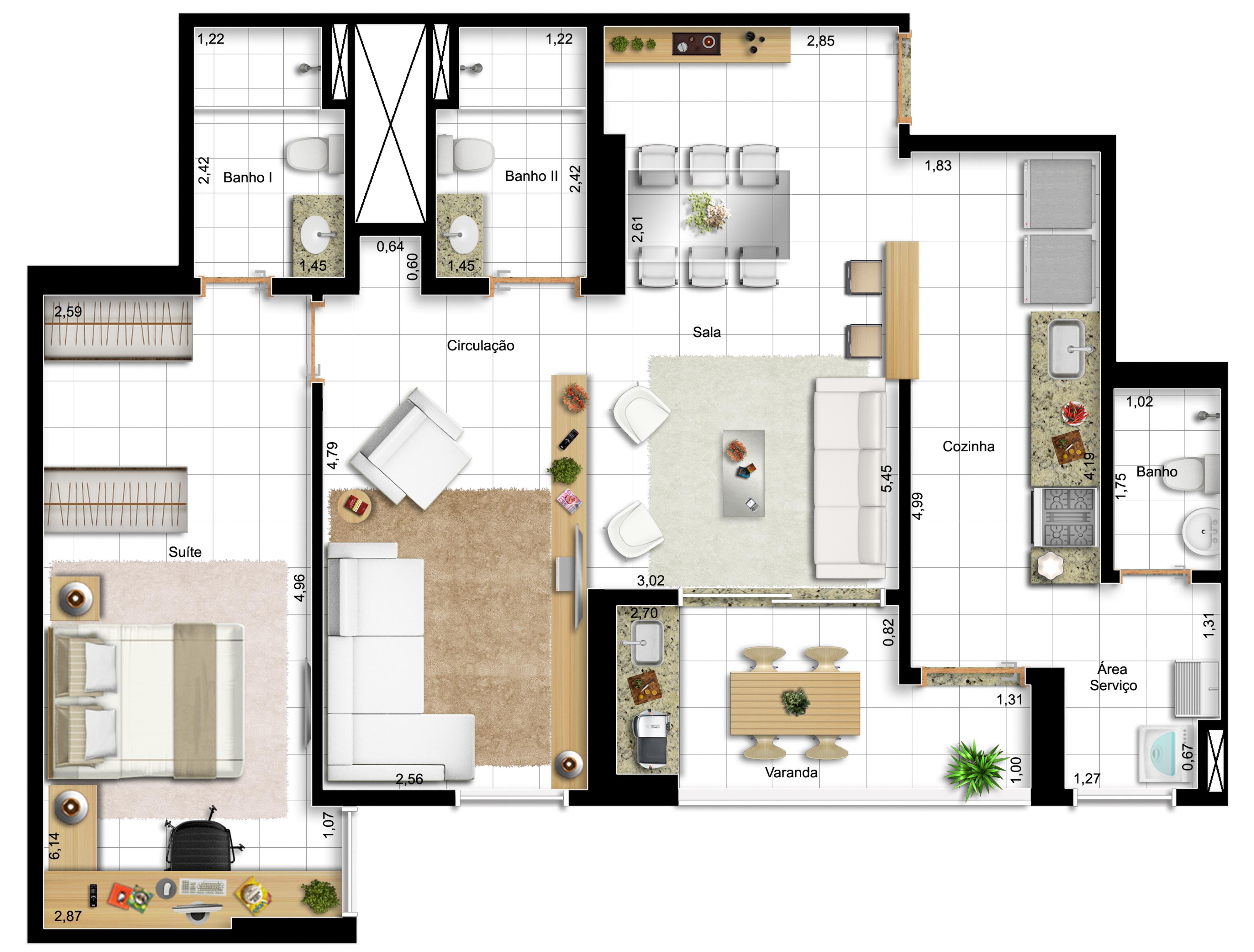 82,42m² - 1 dorm - final 14 - opção sala ampliada e cozinha americana