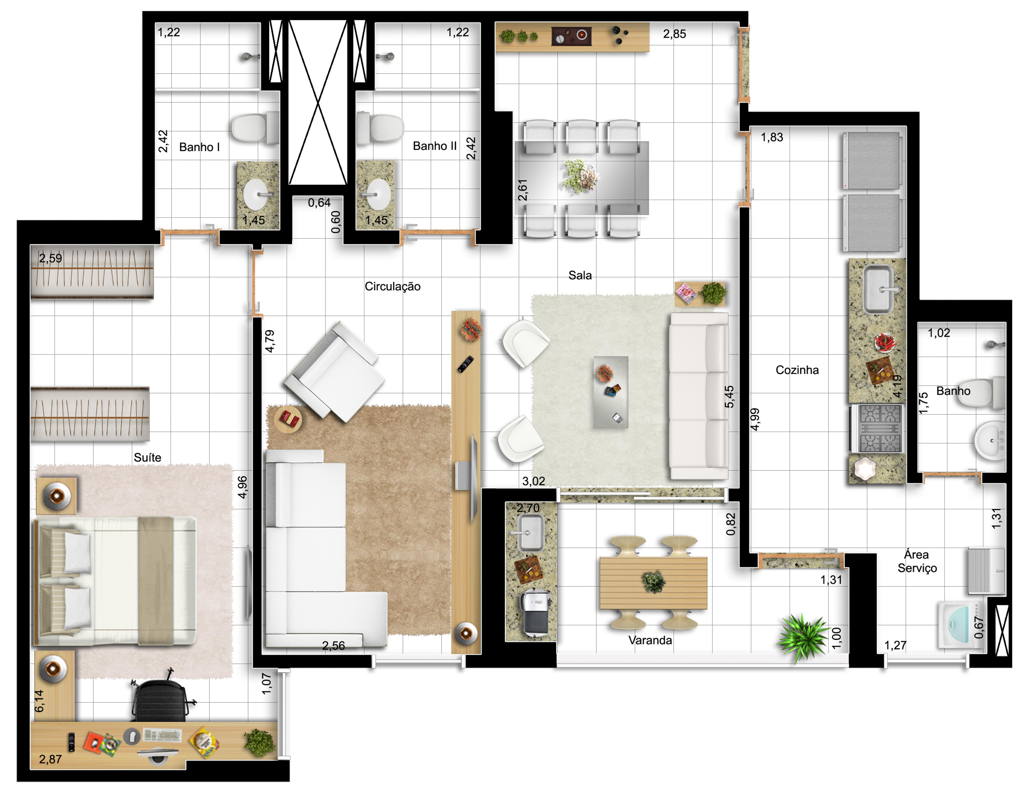 82,42m² - 1 suíte - final 14 - opção com sala ampliada