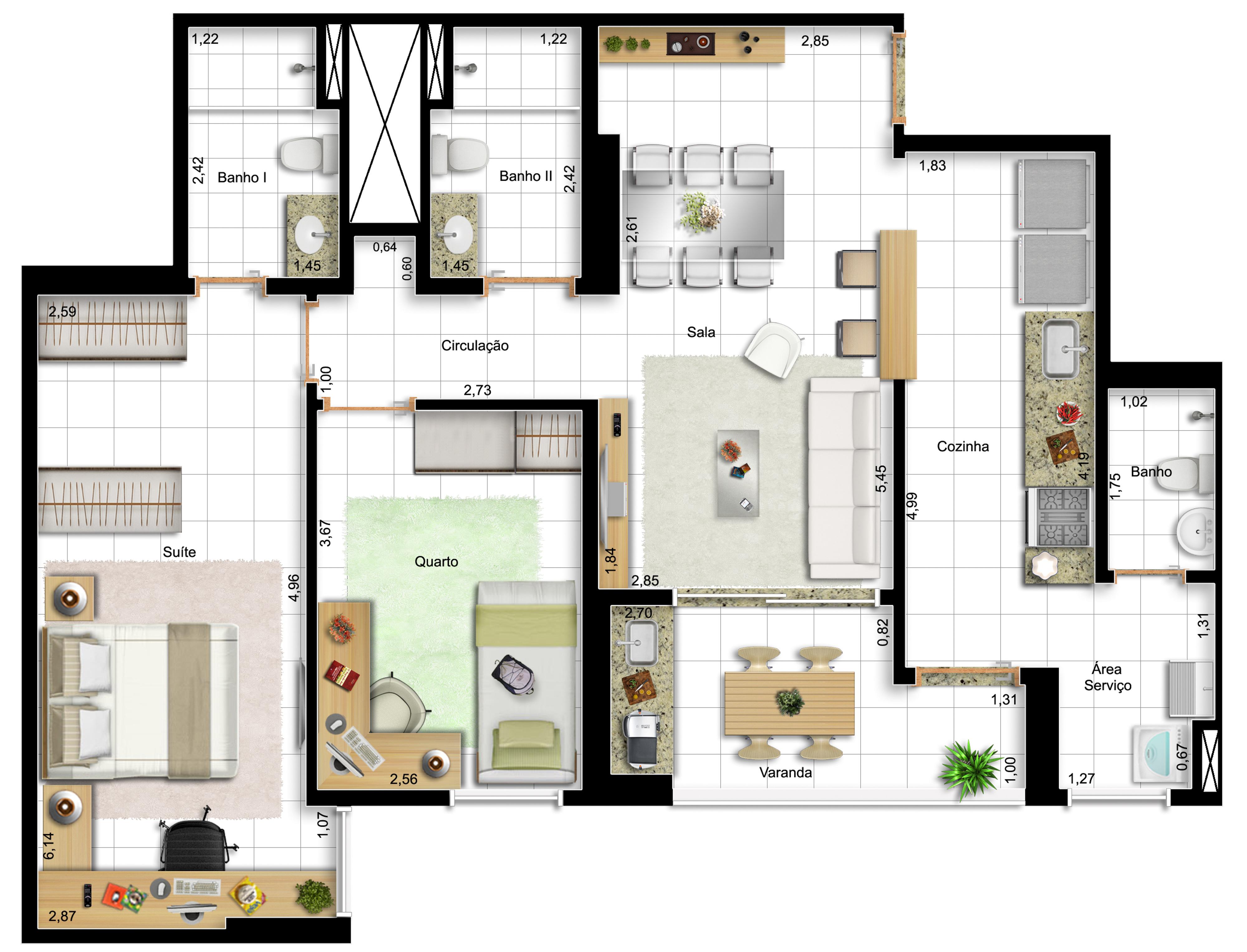 82,42m² - 2 dorms - final 14 - opção com cozinha americana