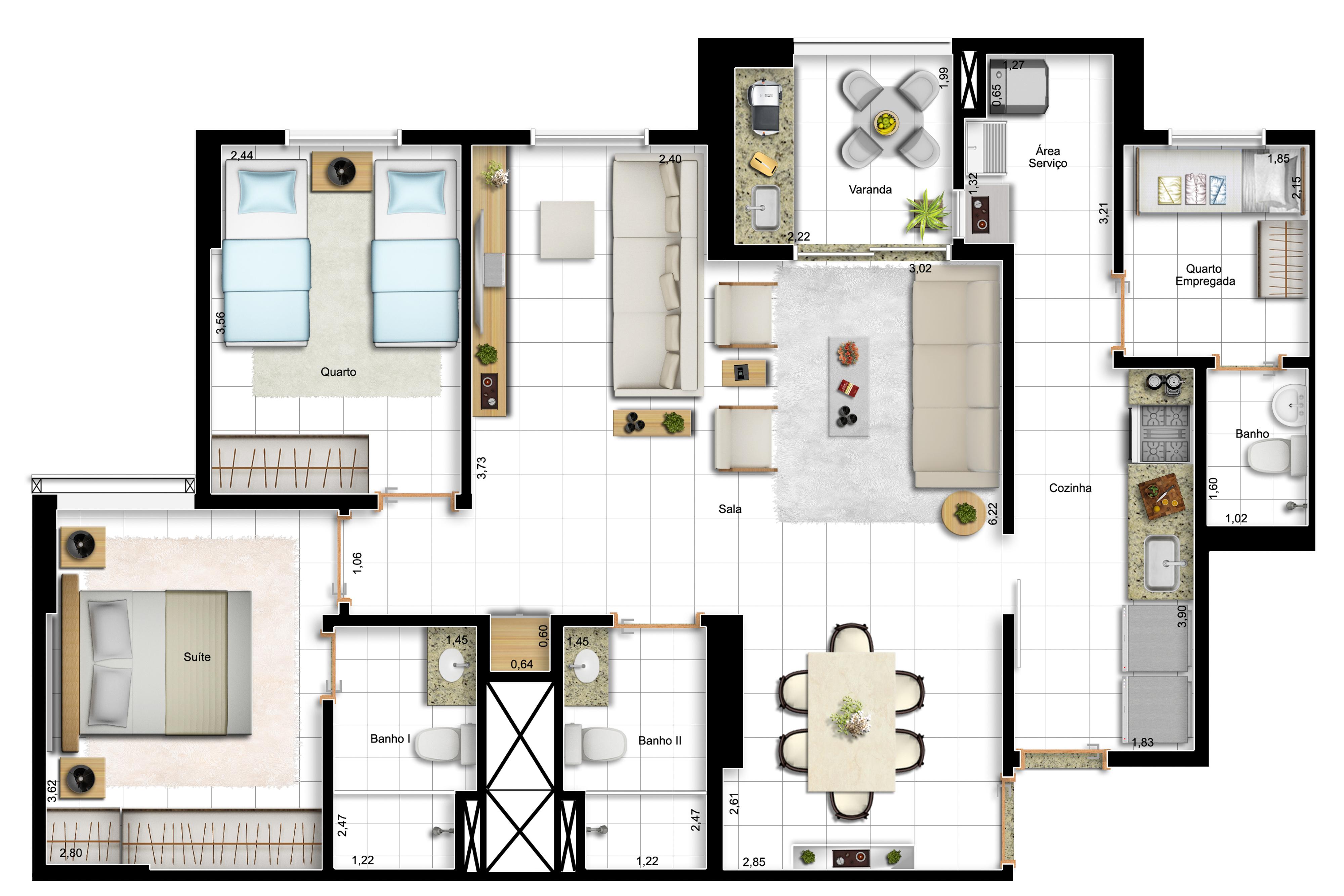 91,63m² 2 dorms - final 13 - opção com sala ampliada