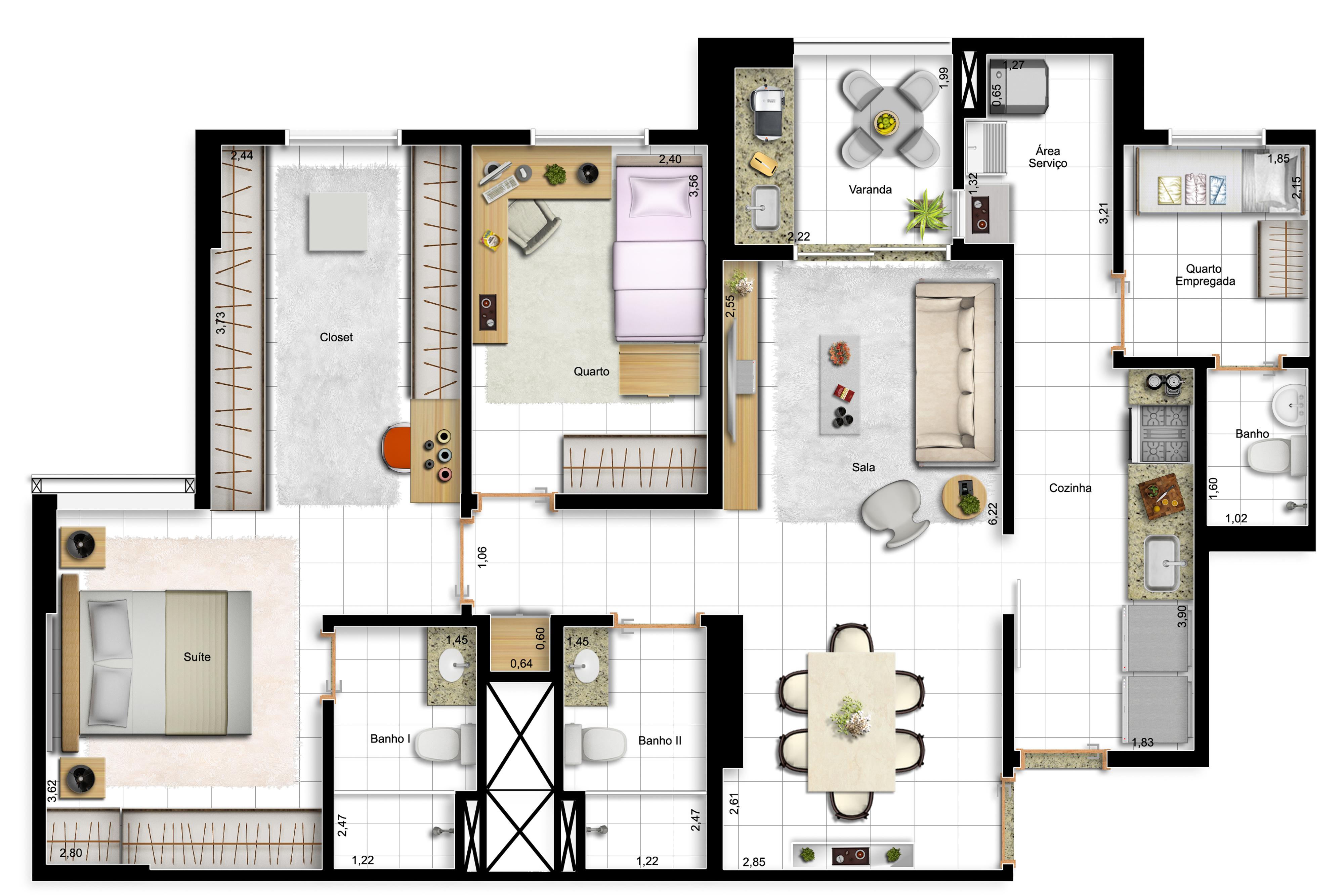 91,63m² 2 dorms - final 13 - opção com suíte master ampliada