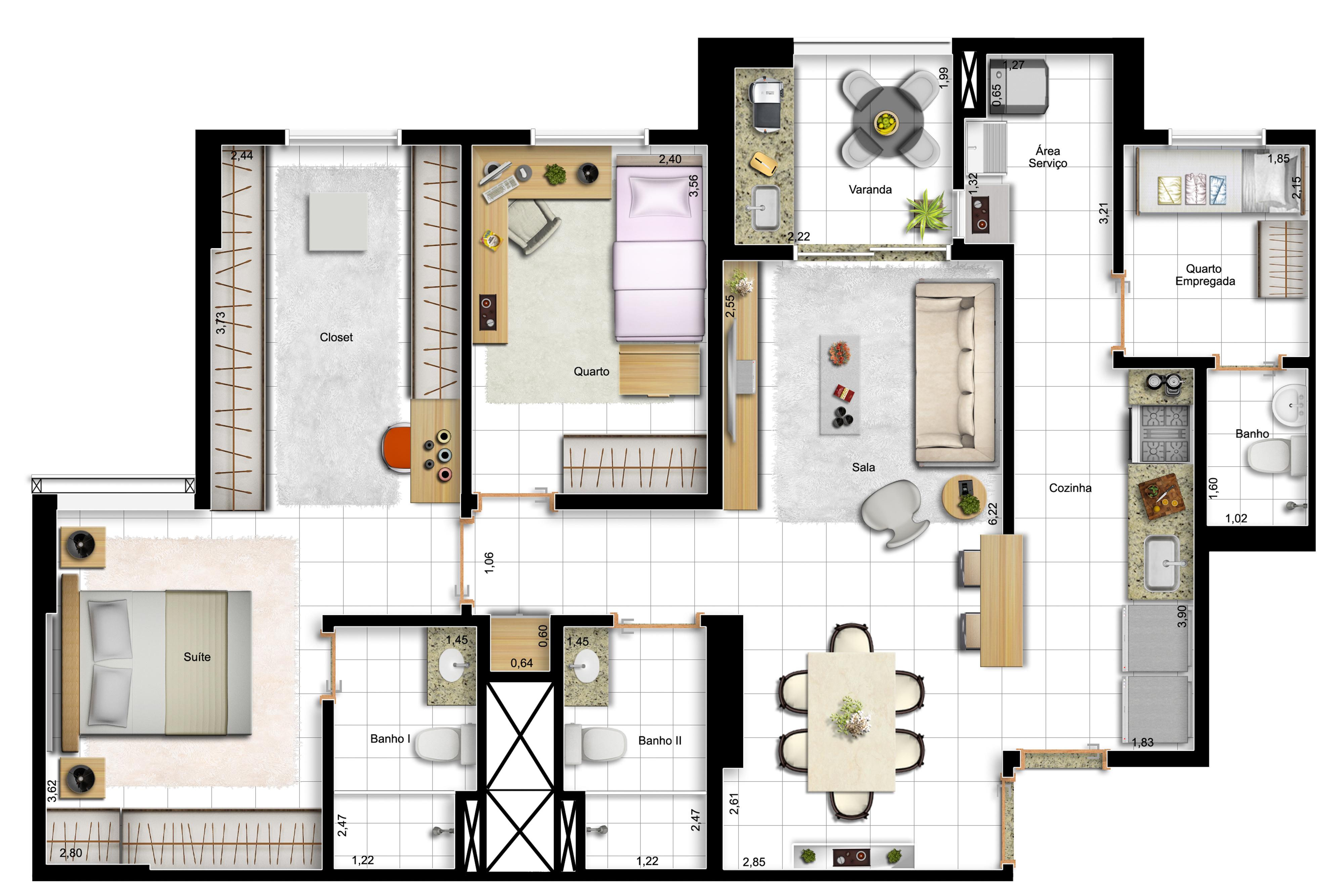 91,63m² 2 dorms - final 13 - suíte master ampliada e cozinha americana