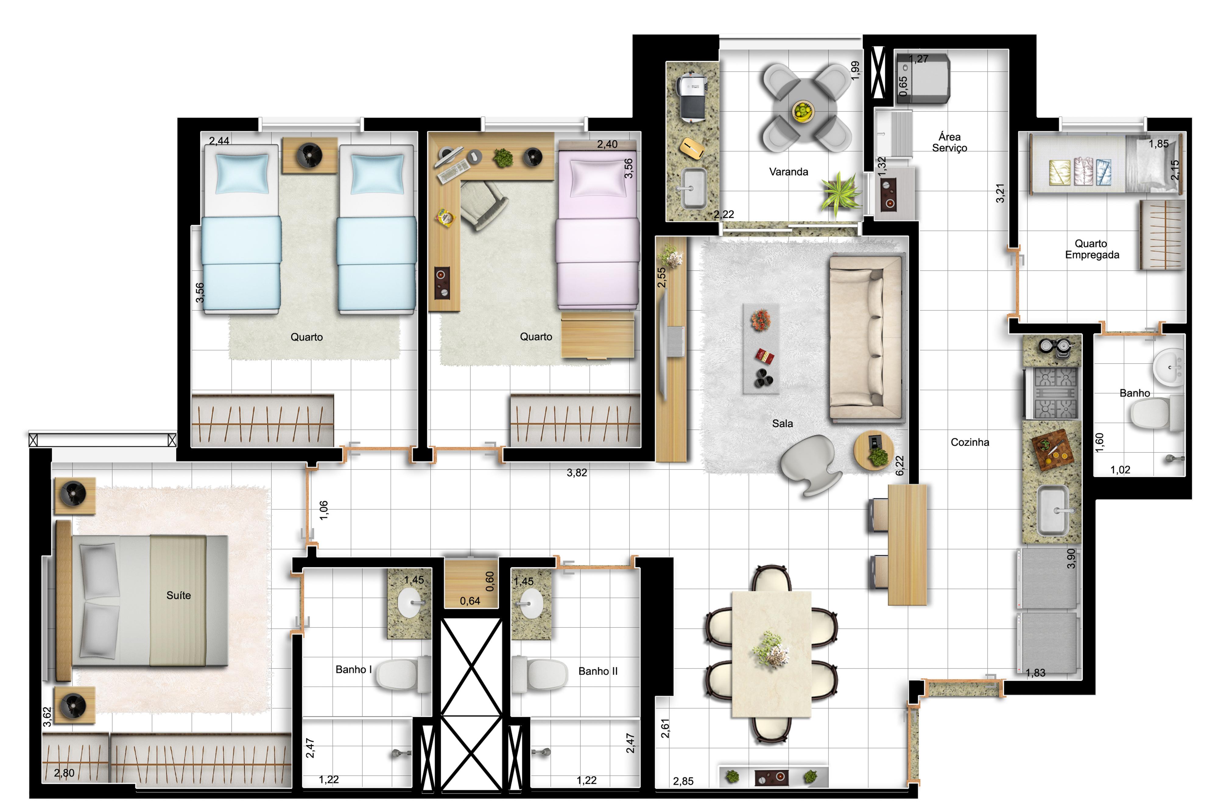 91,63m² 3 dorms - final 13 - opção com cozinha americana