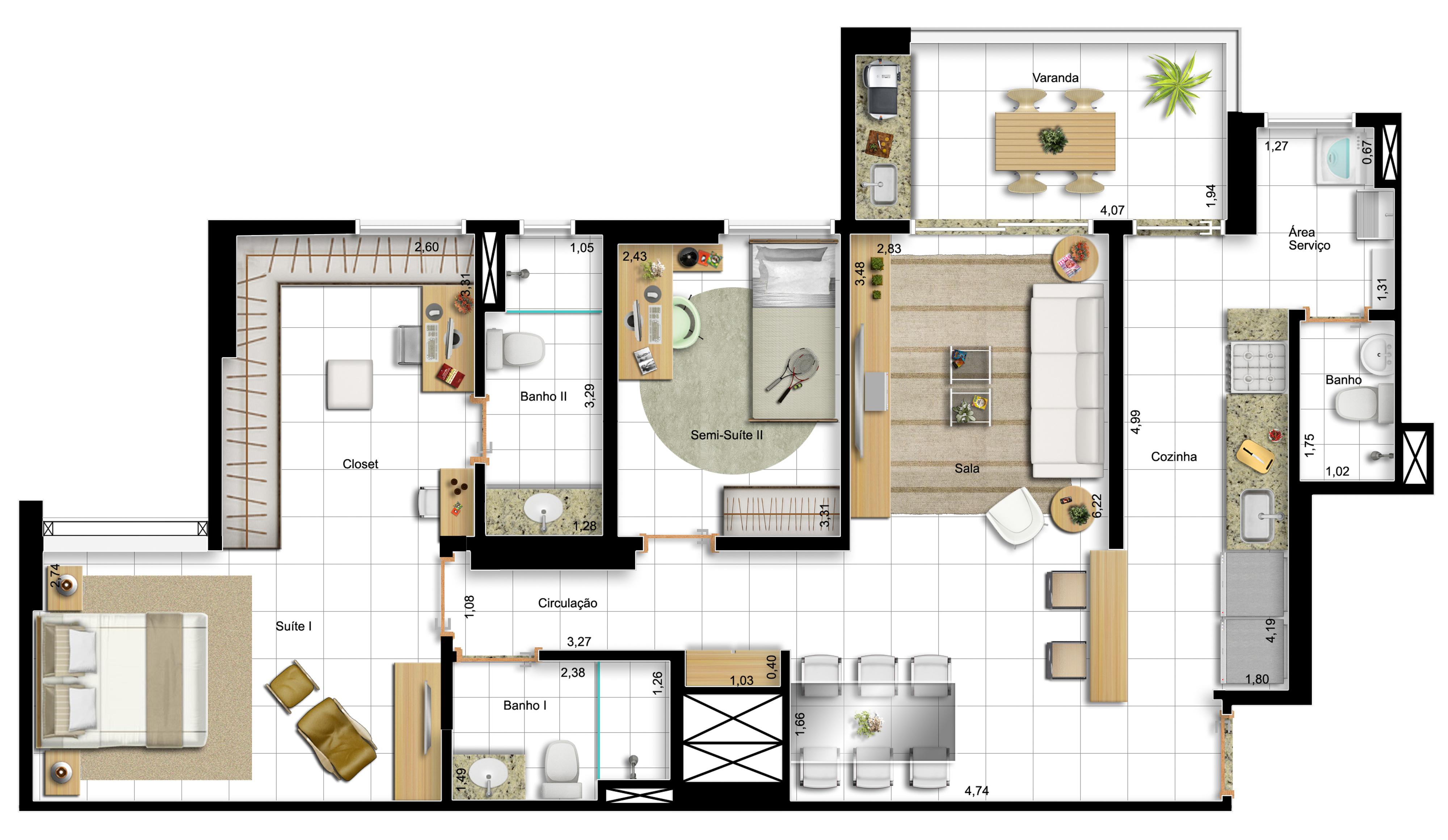 96,60m² 2 dorms - final 1 -  suíte master ampliada e cozinha americana