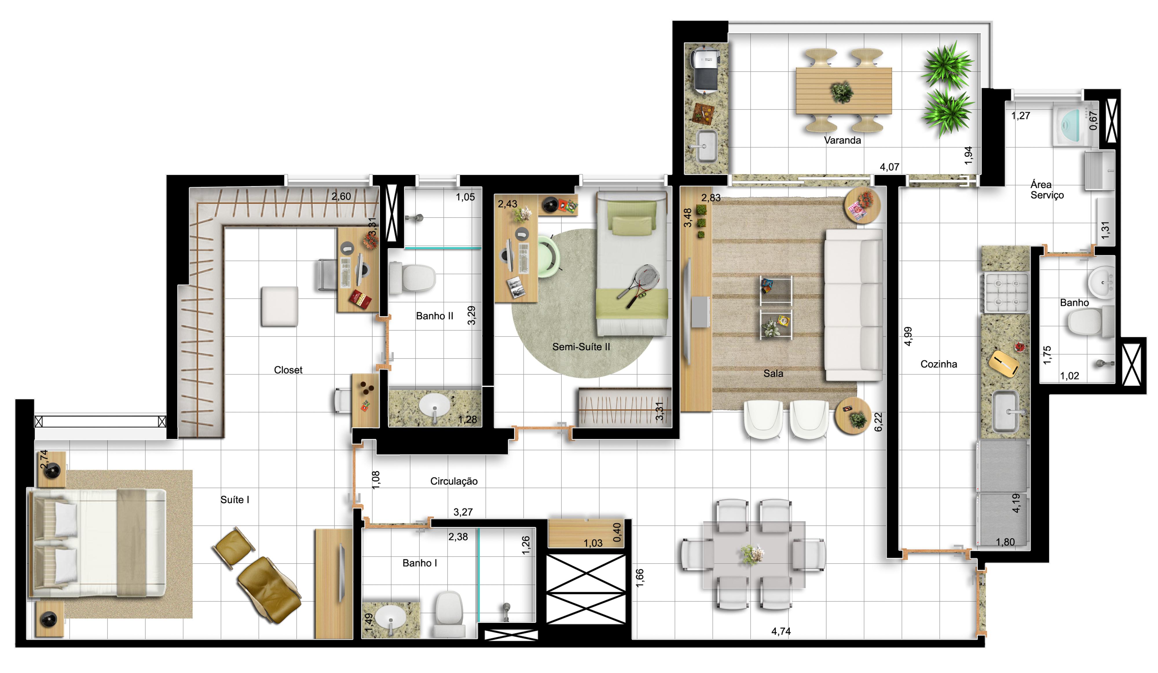 96,60m² 2 dorms - final 1 - opção com suíte master ampliada