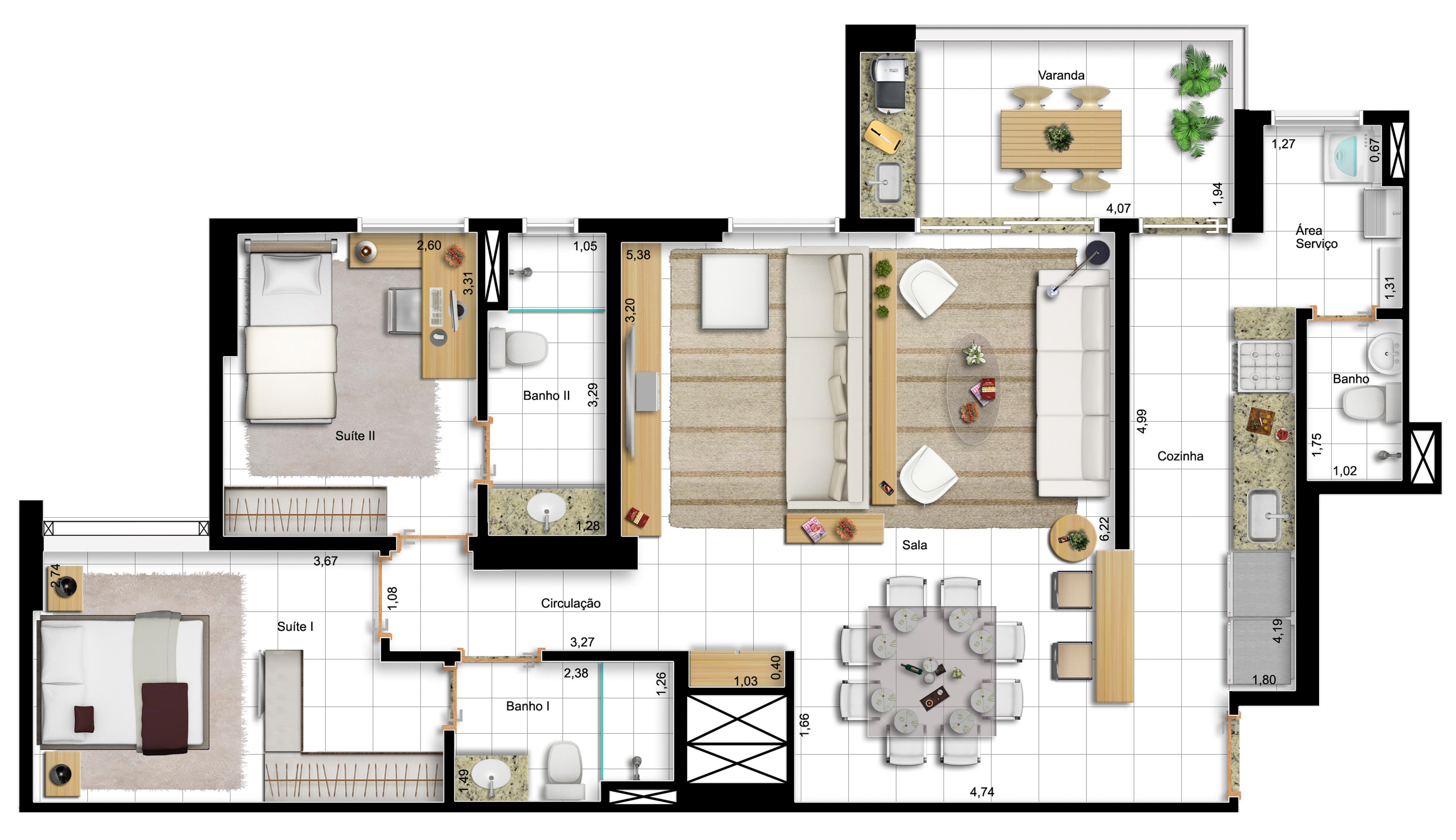 96,60m² 2 suítes - final 1 - opção  sala ampliada e cozinha america