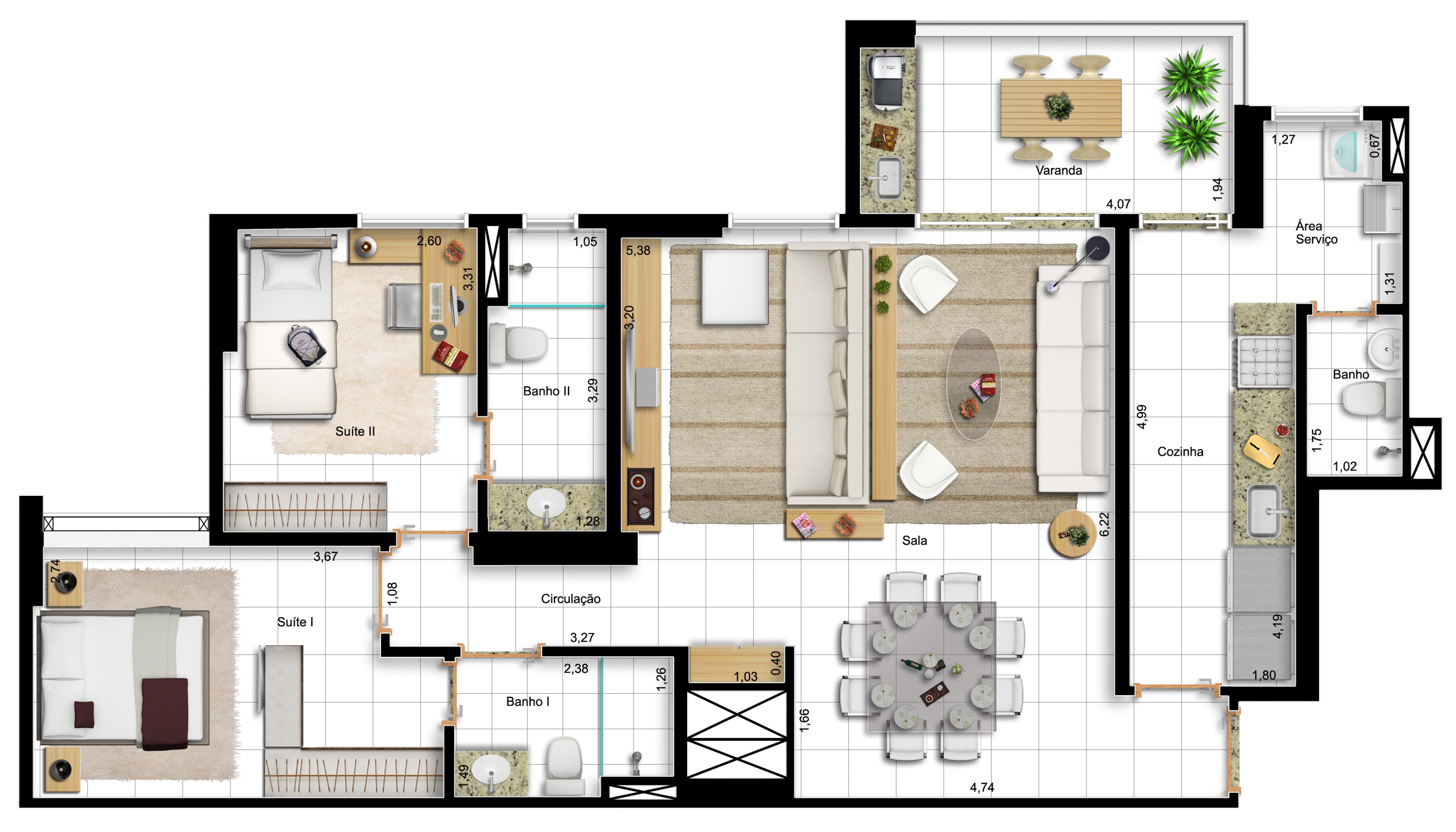 96,60m² 2 suítes - final 1 - opção com sala ampliada