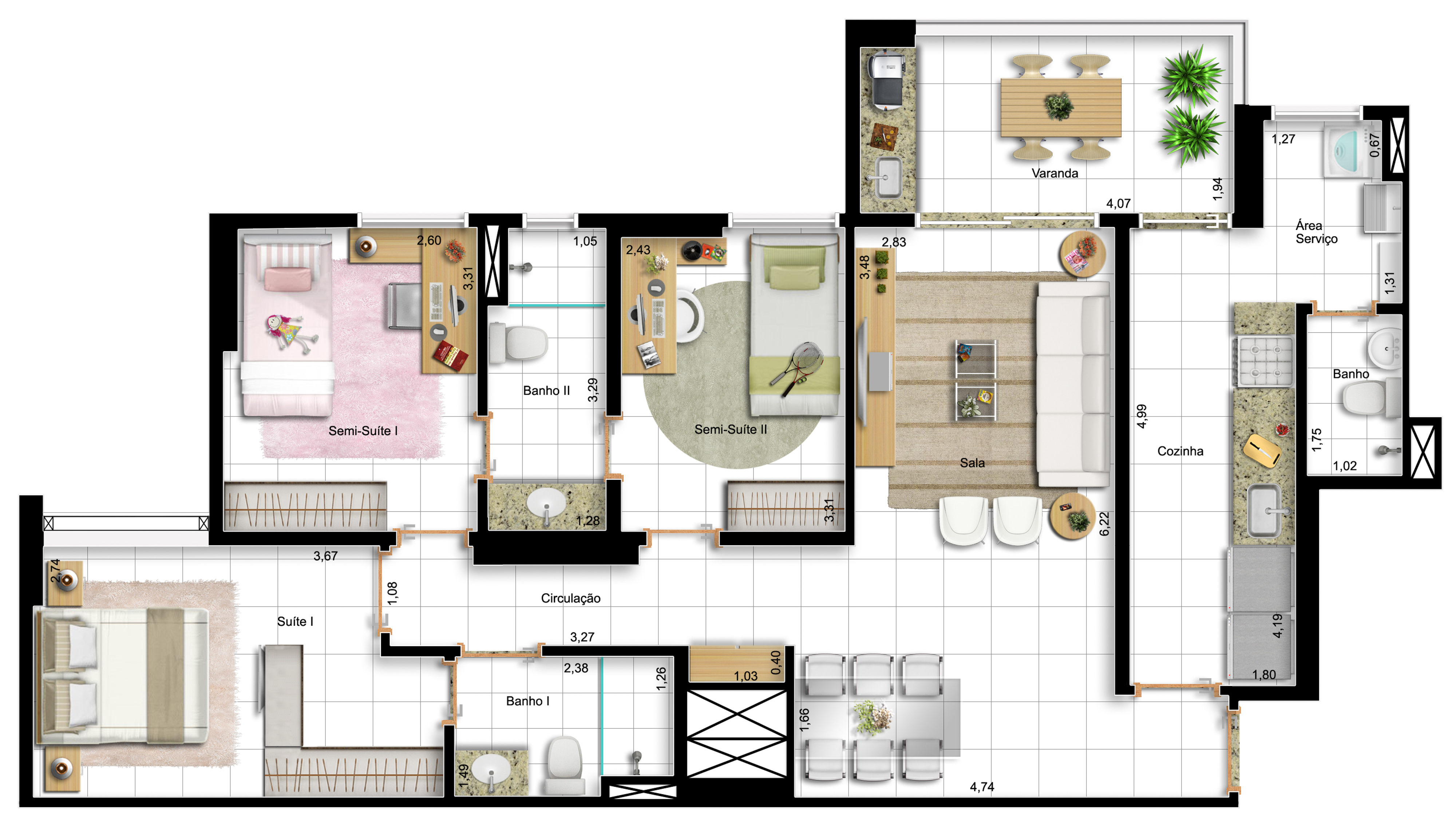 96,60m² 3 dorms - final 1 - apto tipo