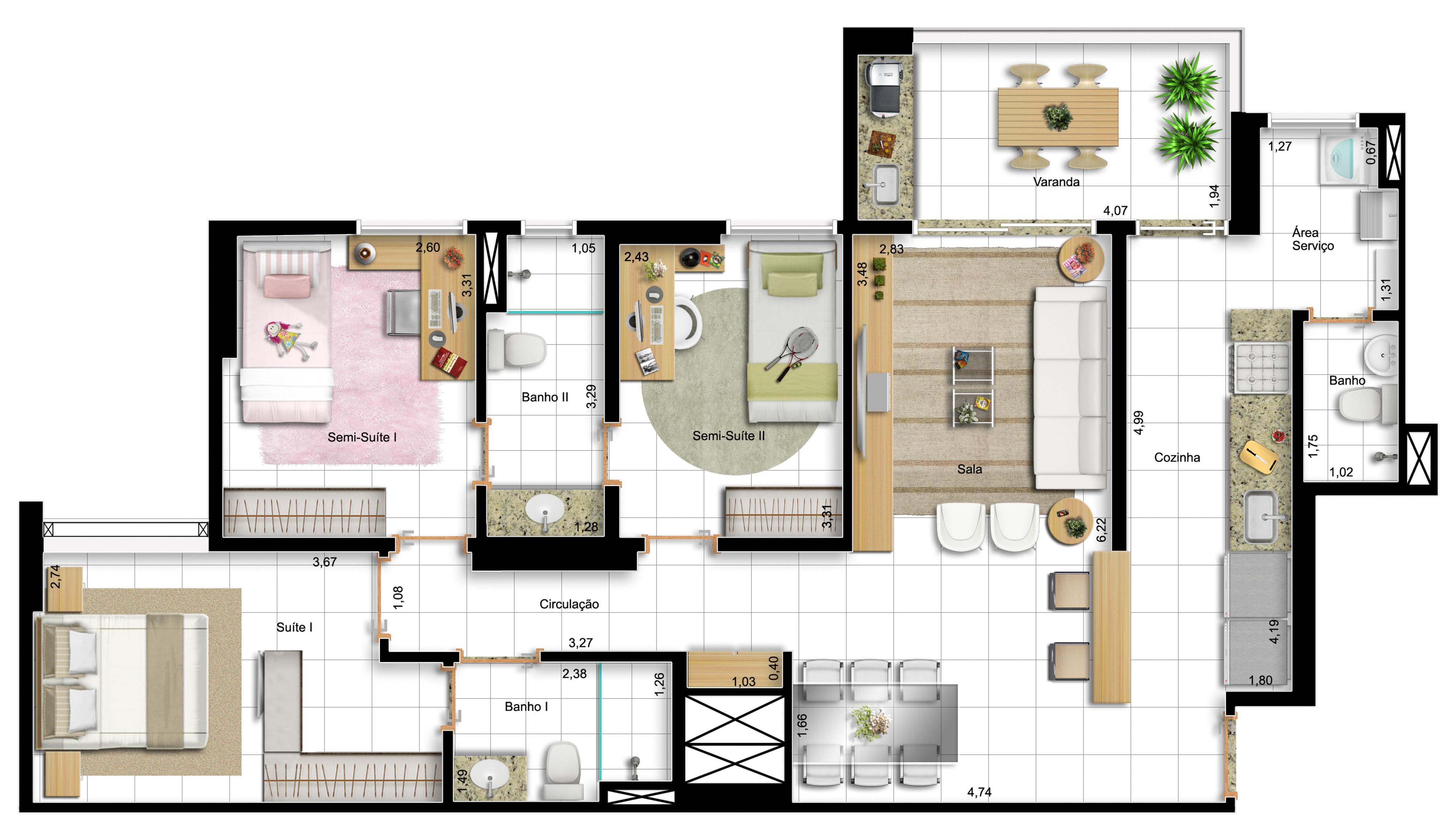 96,60m² 3 dorms - final 1 - opção com cozinha americana