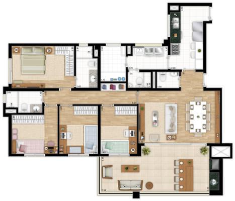 Planta 137 m² - apto tipo