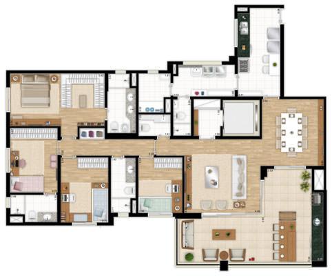 Planta 182 m² - apto tipo