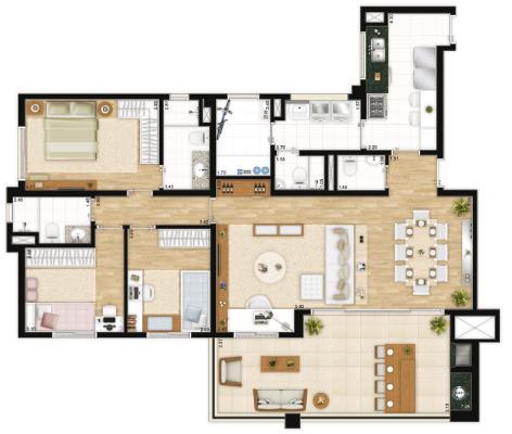 Planta 137 m² - living ampliado