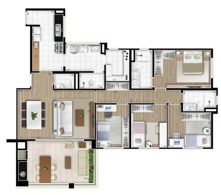 132m² 4 dorms - apto tipo