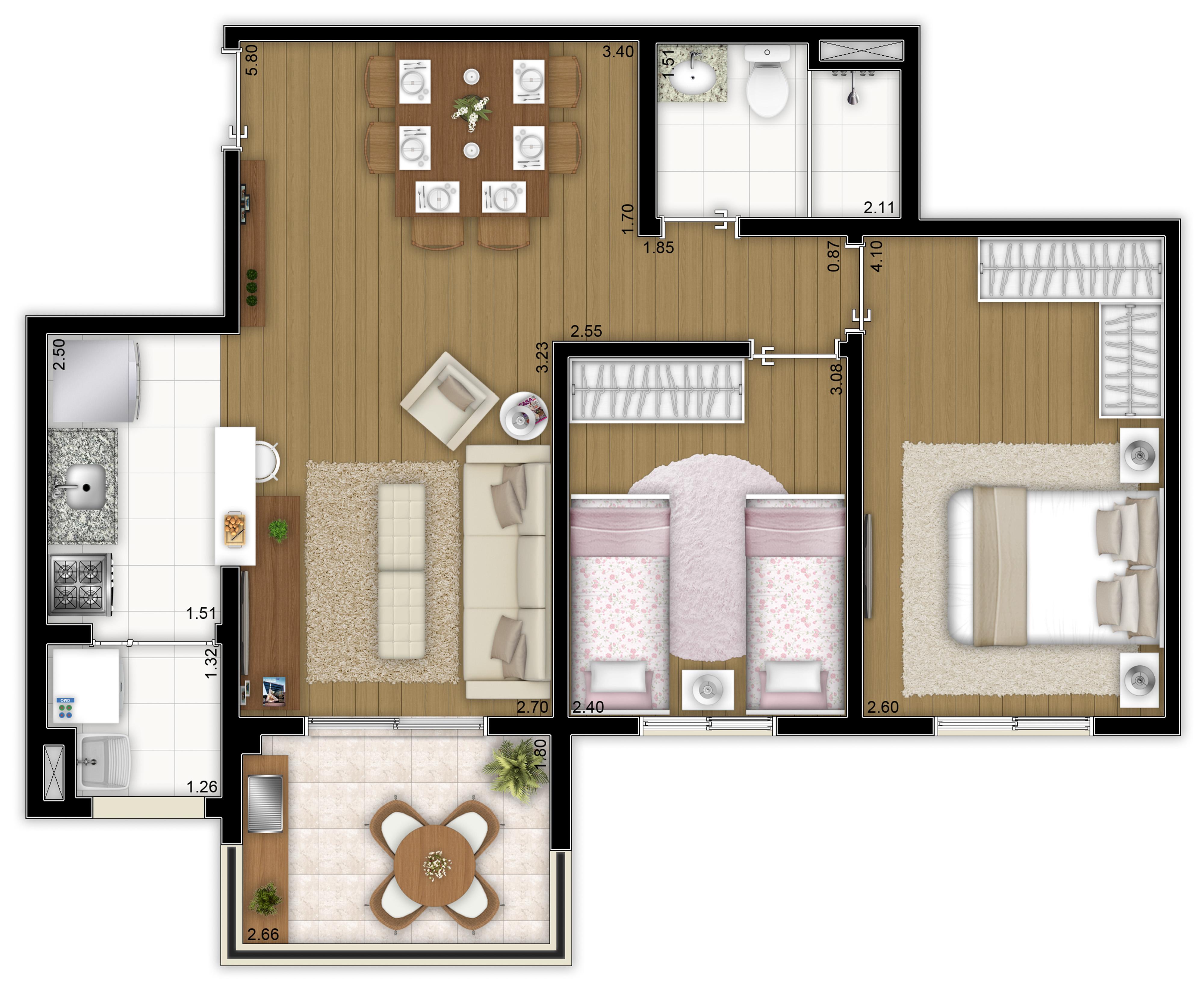 60m² - 2 dorms