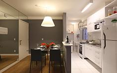 54 m² - Sala de jantar e cozinha americana - Flex Imigrantes - Tecnisa