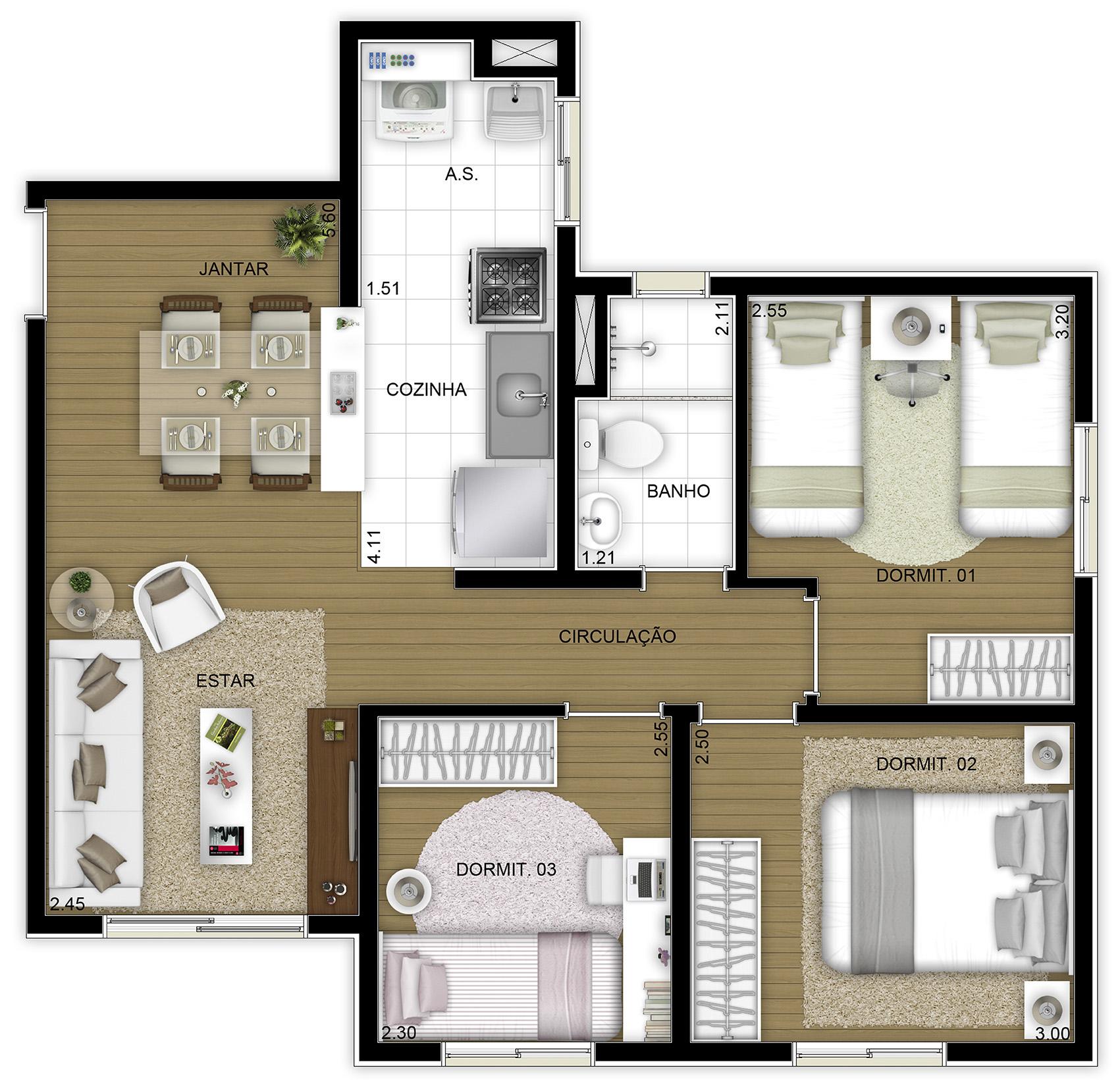 54,69m² 3 dorms