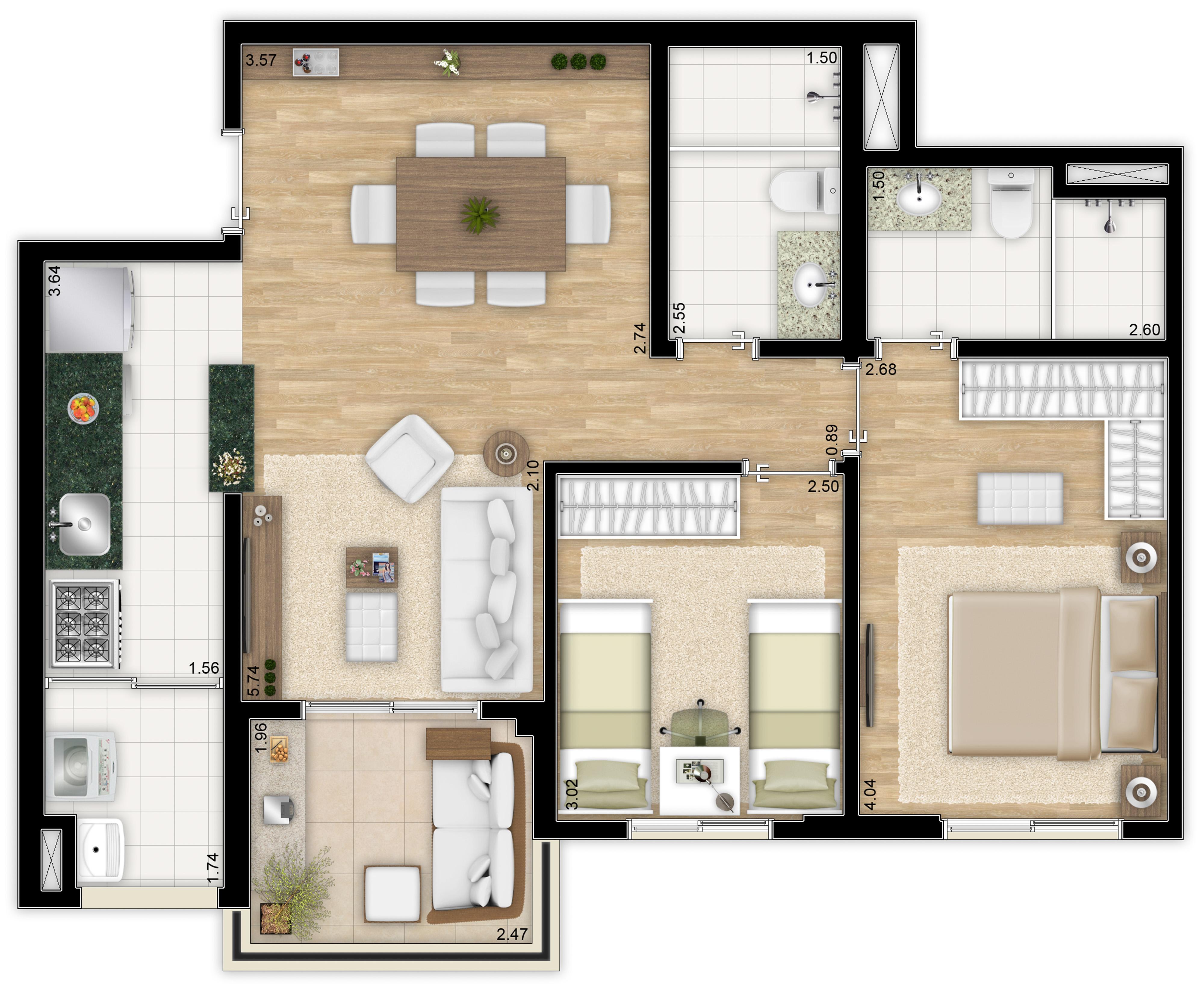 70 m² - 2 dorms - Apto tipo