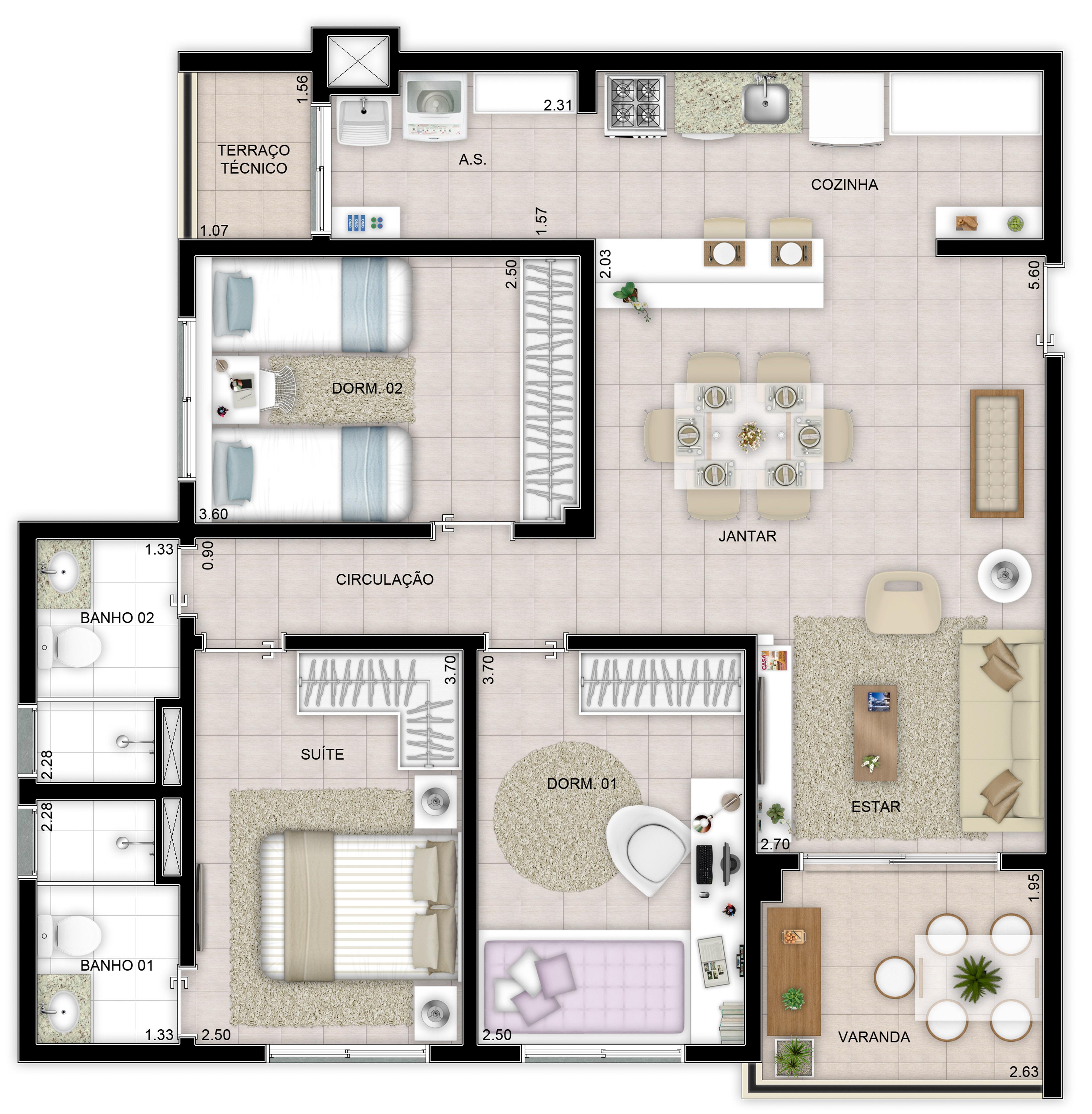85m² - 3 dorms