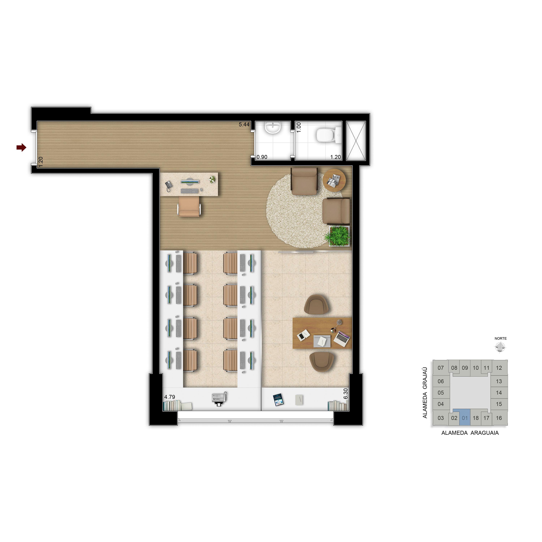 45 m² - Escritório de contabilidade