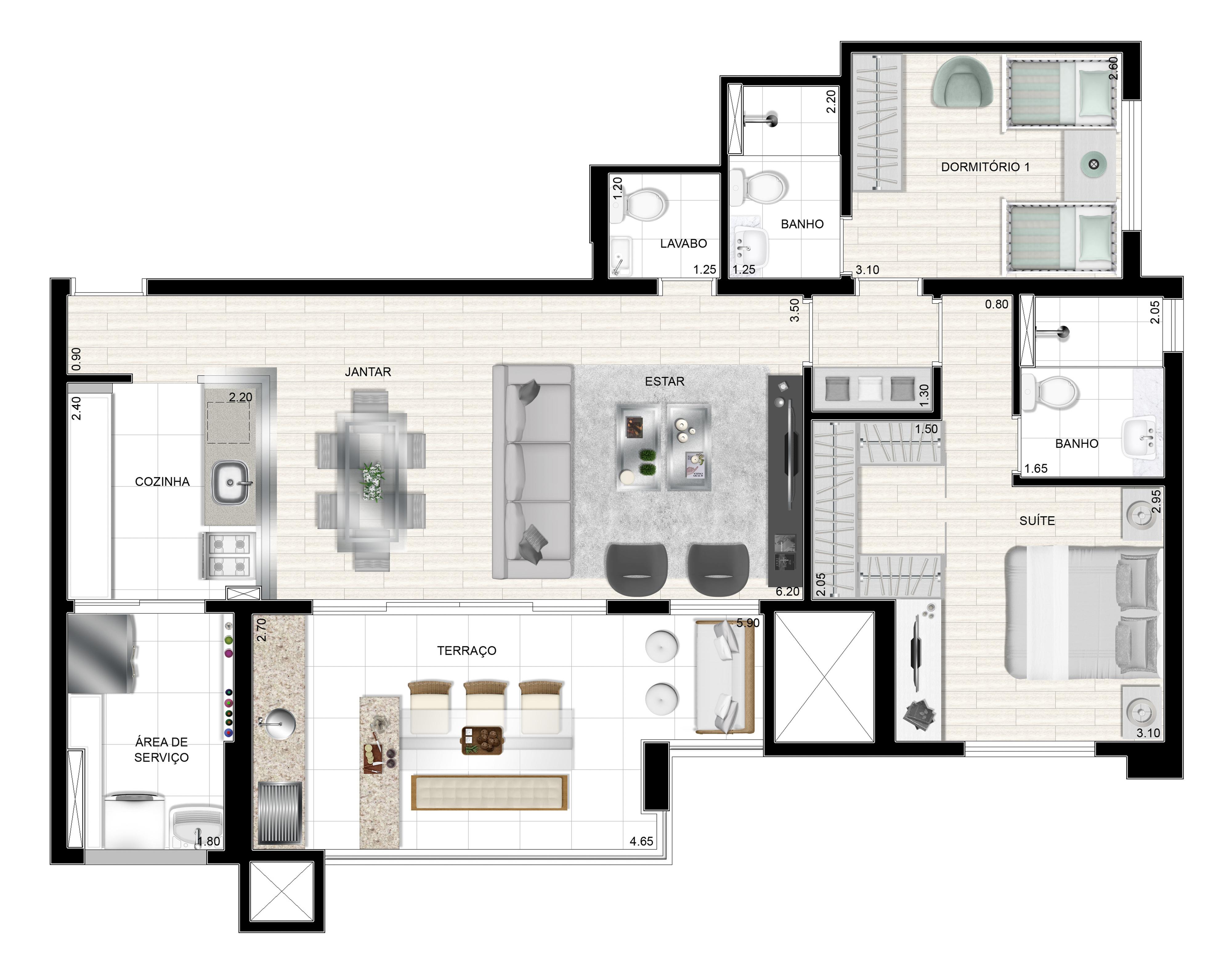 93m² 2 dorms - Apto tipo