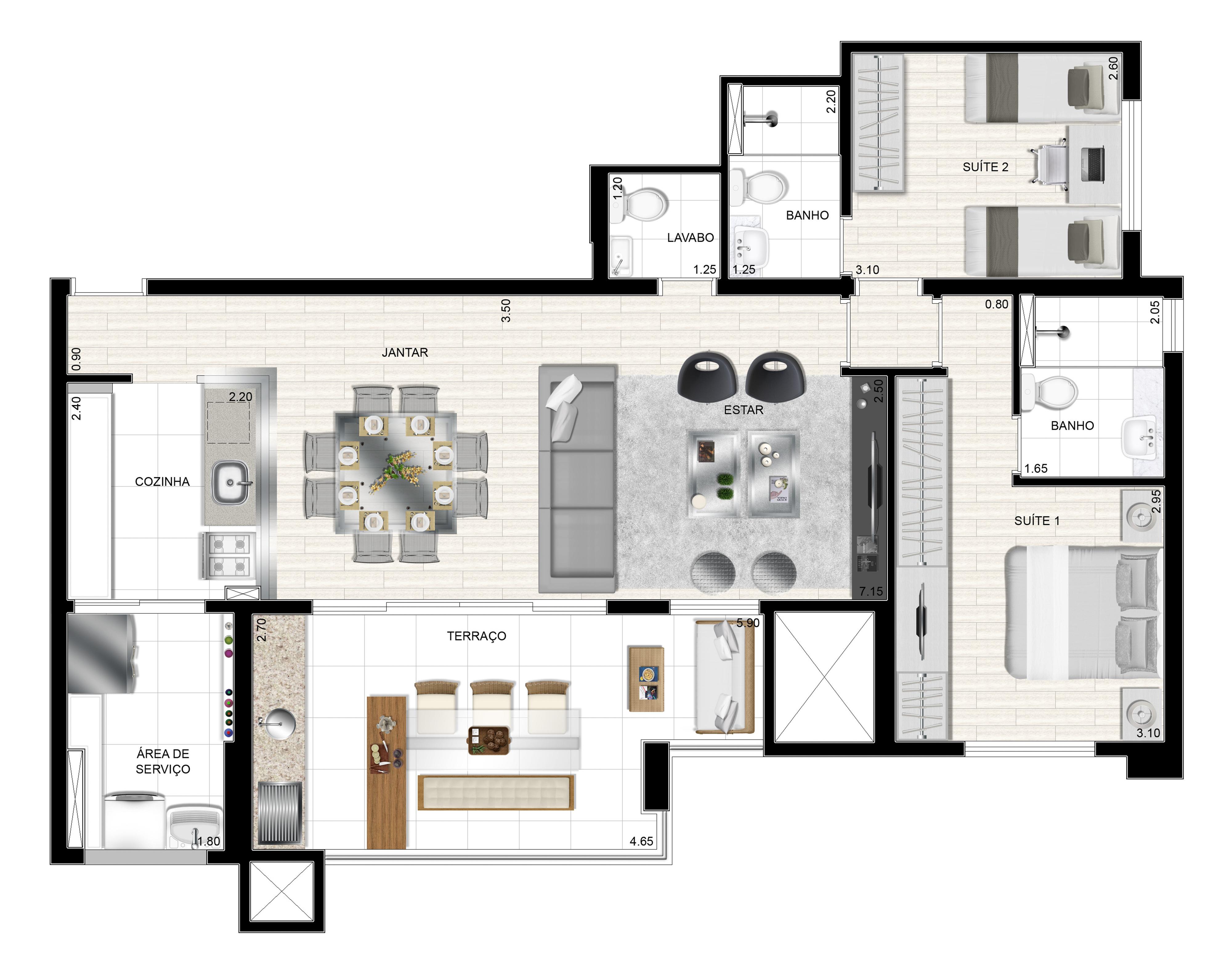 93m² 2 suítes - Living ampliado