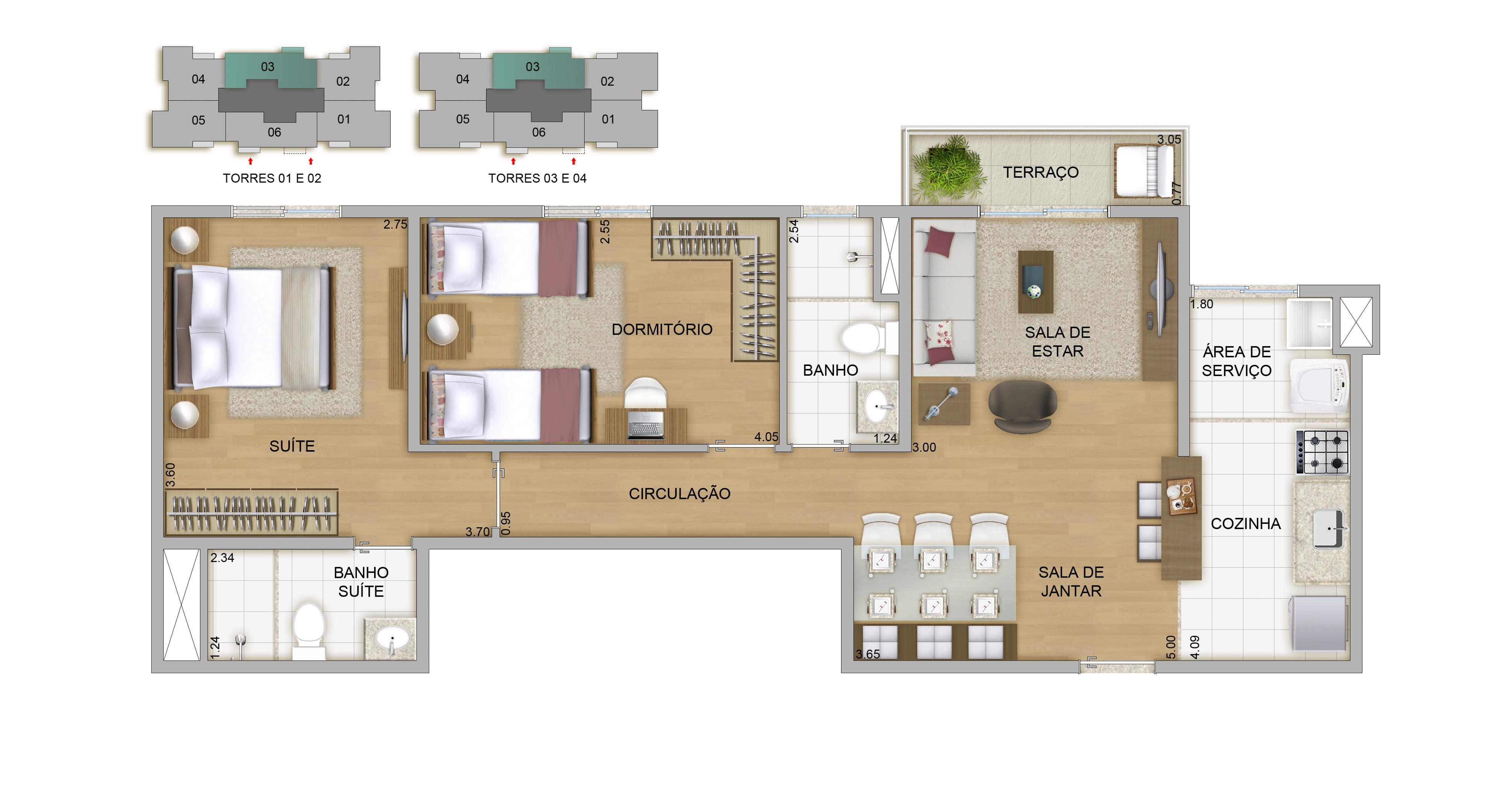 65,69m² - 2 dorms